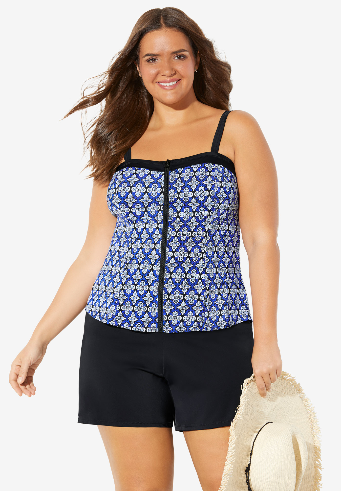 Zip-Front Tankini Top by Fit 4 U®,