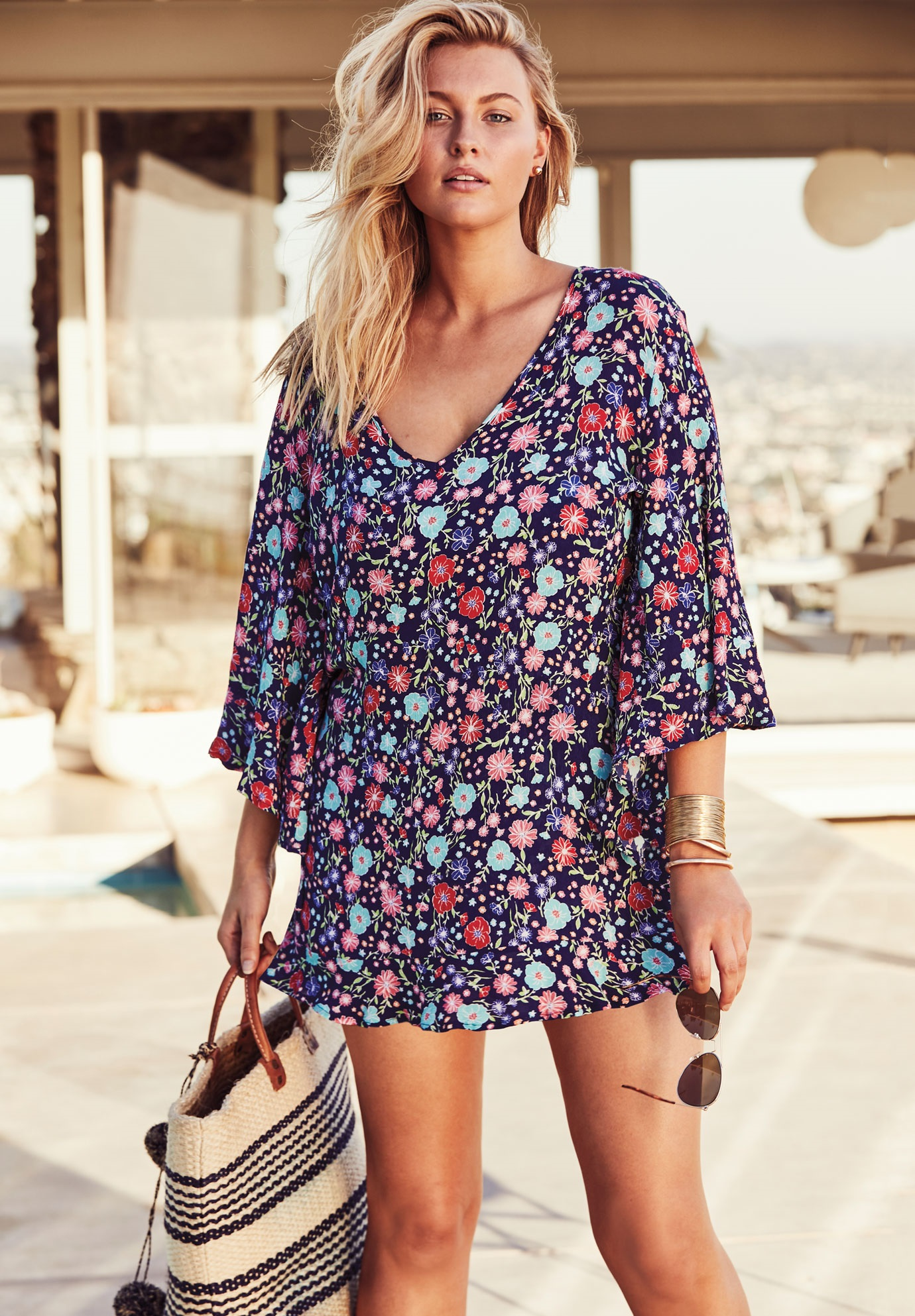 Flounce Coverup by Anne Cole, NAVY FLORAL, hi-res