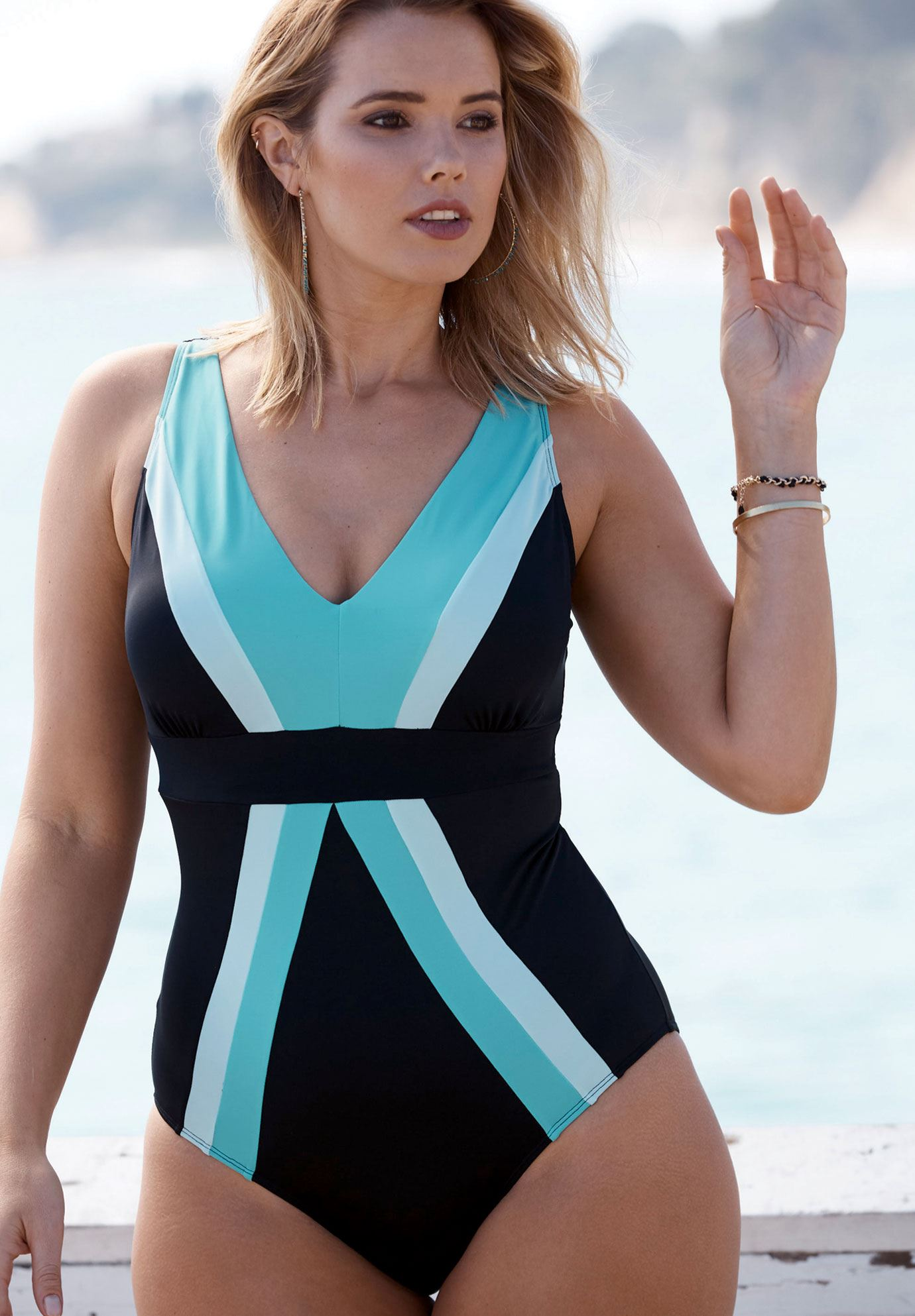Deep-V Swimsuit, BLACK SEAFOAM, hi-res