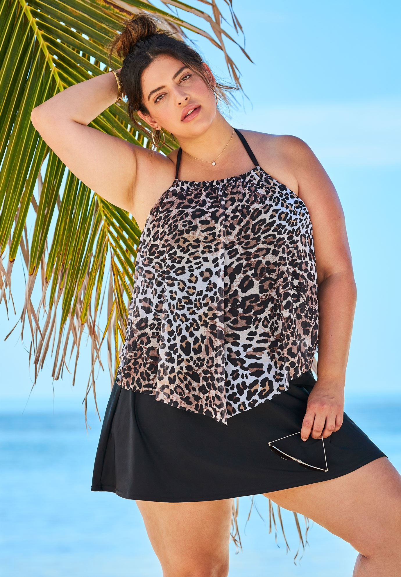 High-Neck Mesh Tankini,
