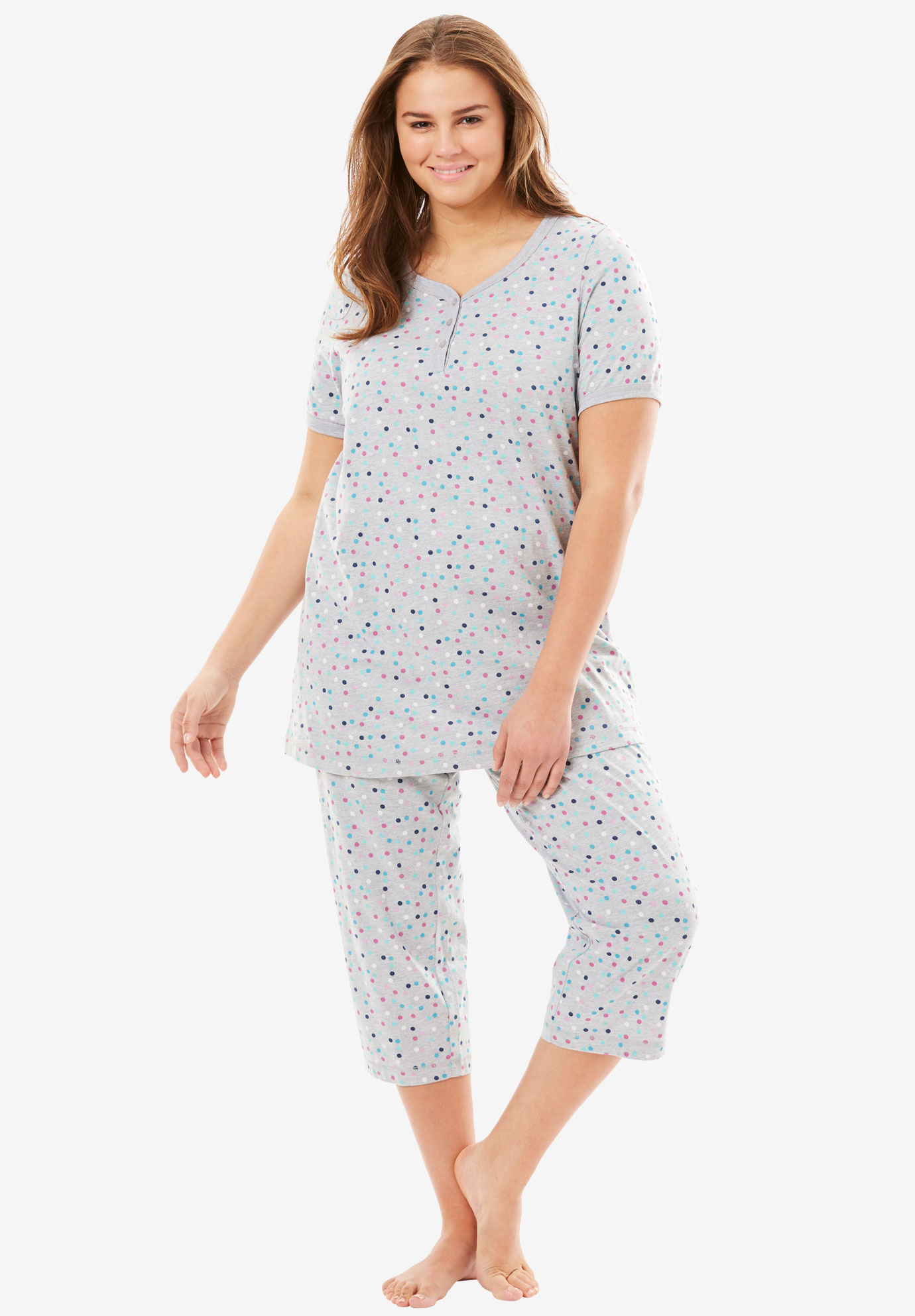 Henley Capri PJ Set by Dreams & Co.®, HEATHER GREY DOT, hi-res