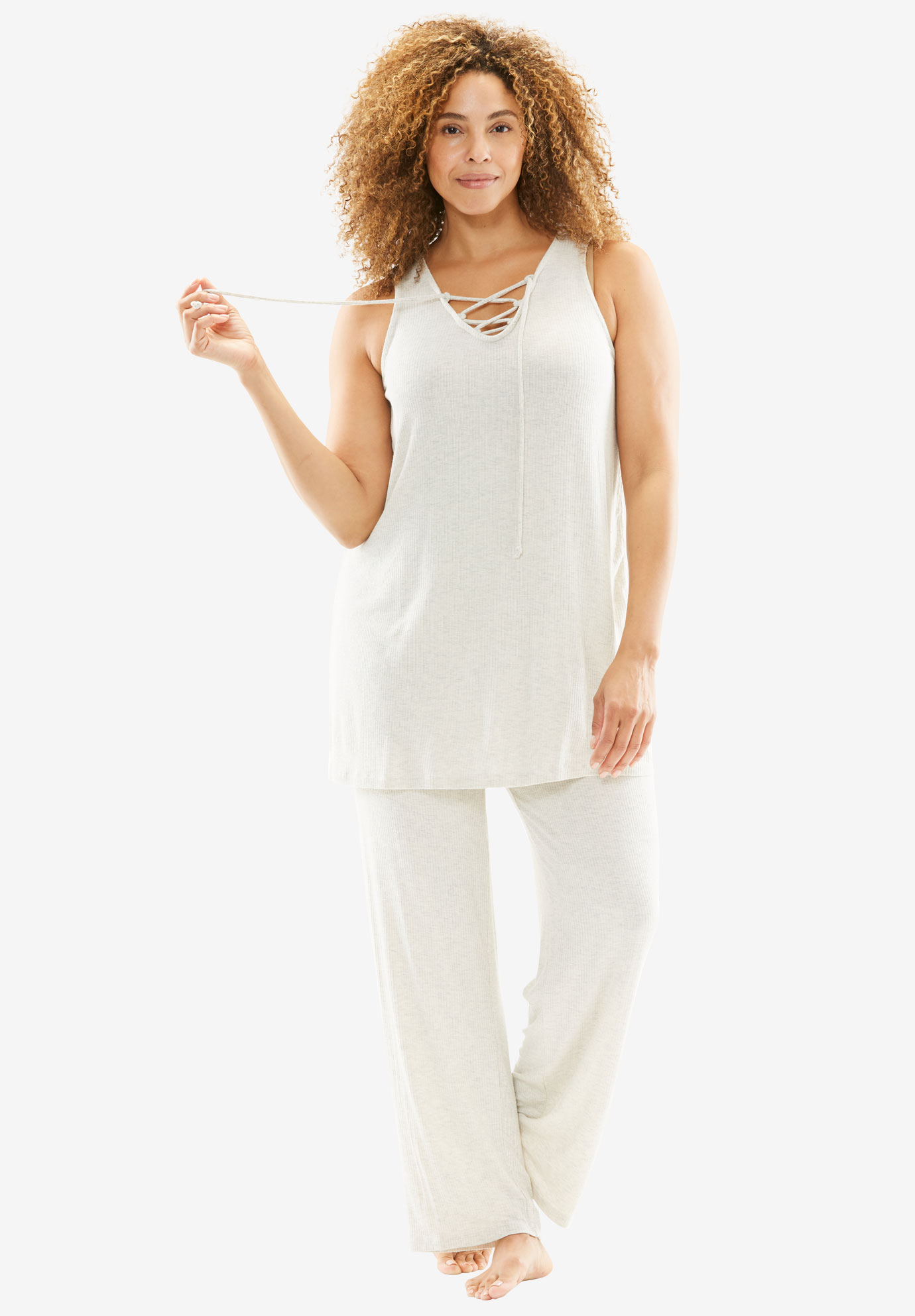 Tank PJ Set With Lace Trim, HEATHER OATMEAL, hi-res