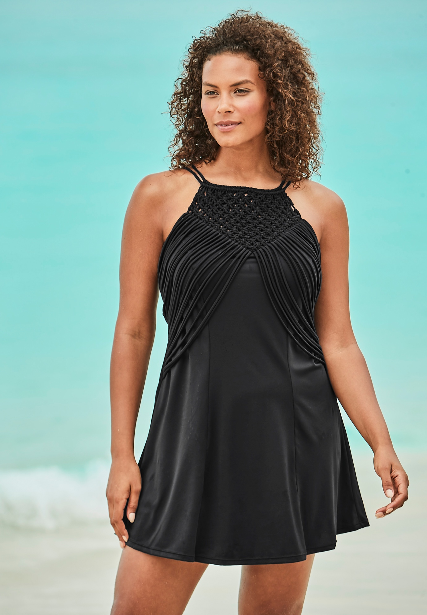 High-Neck Macrame Swim Dress,