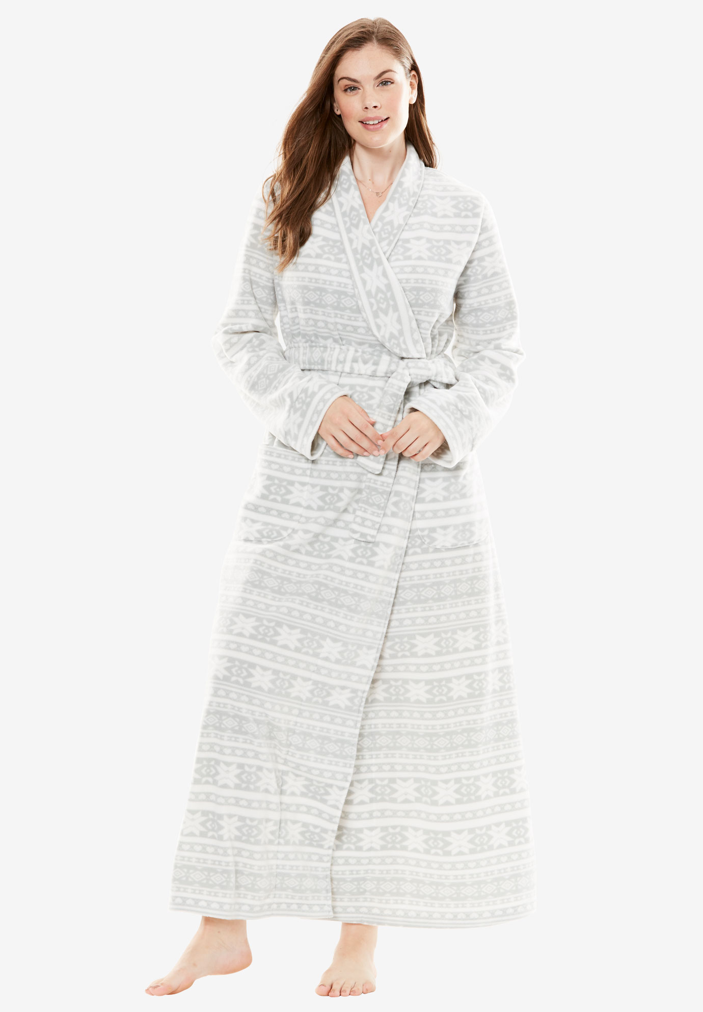 Microfleece Wrap Robe by Dreams & Co.®, HEATHER GREY FAIR ISLE, hi-res