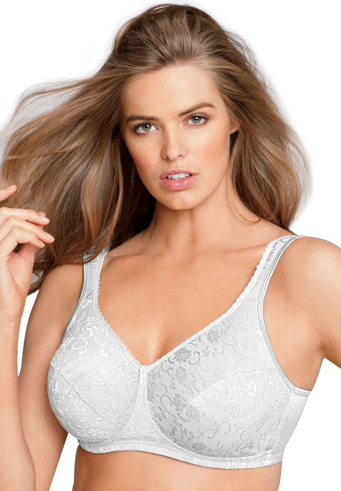 18-Hour soft cup floral patterned bra by Playtex®, WHITE, hi-res