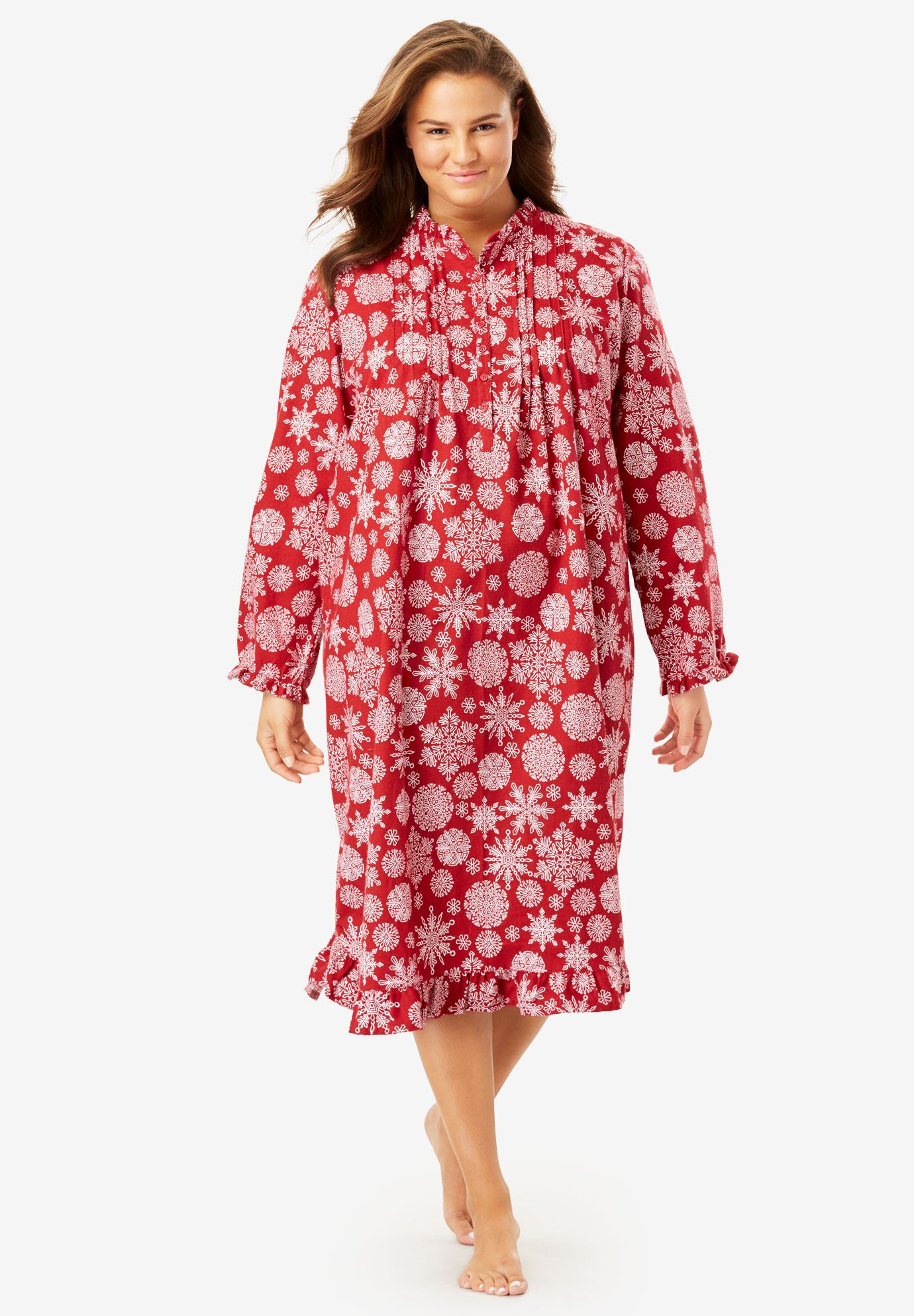 Cotton Flannel Print short gown by Only Necessities® | Plus Size ...