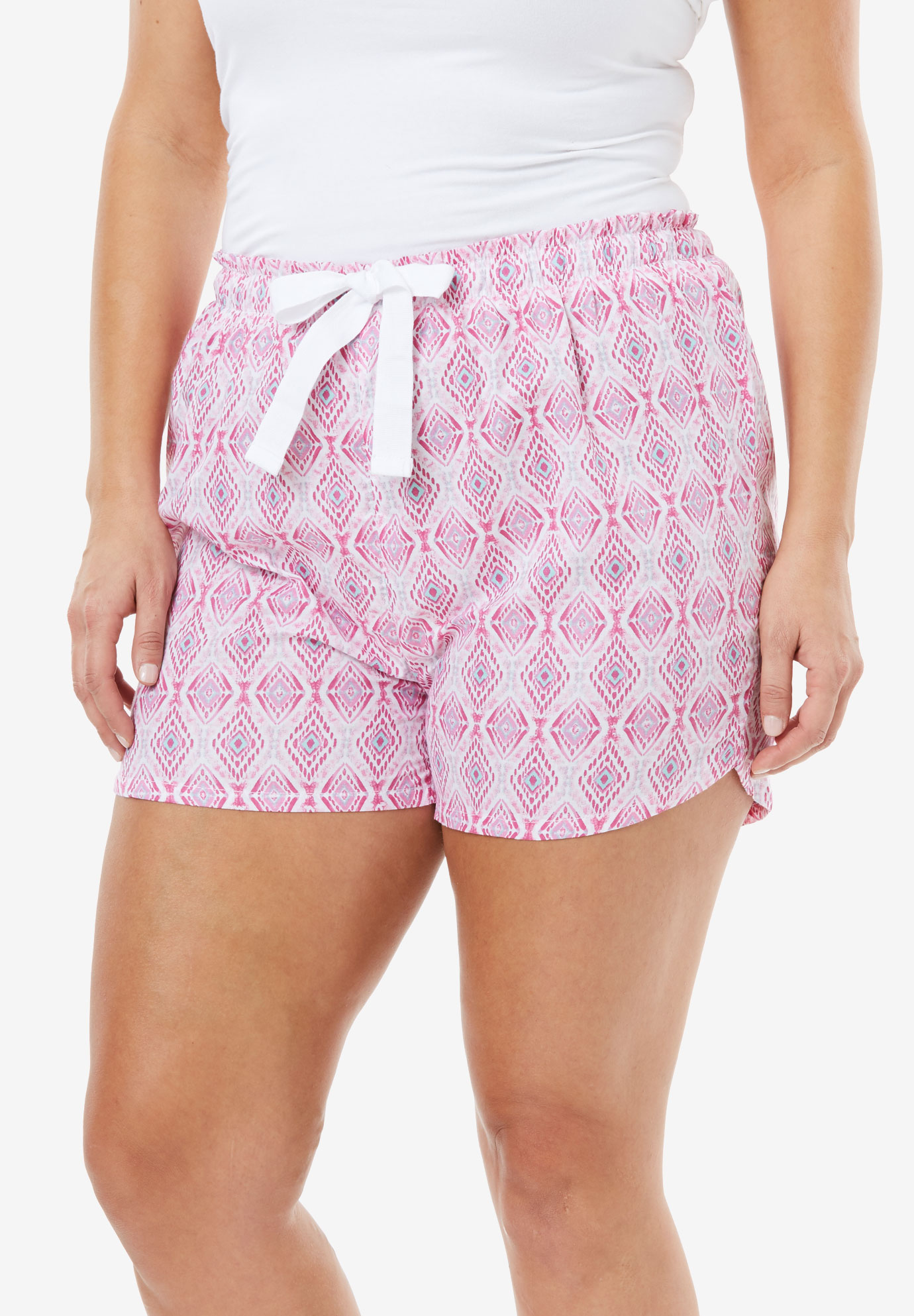 Cotton Print Pajama Short by Dreams & Co.®, PINK DIAMOND, hi-res