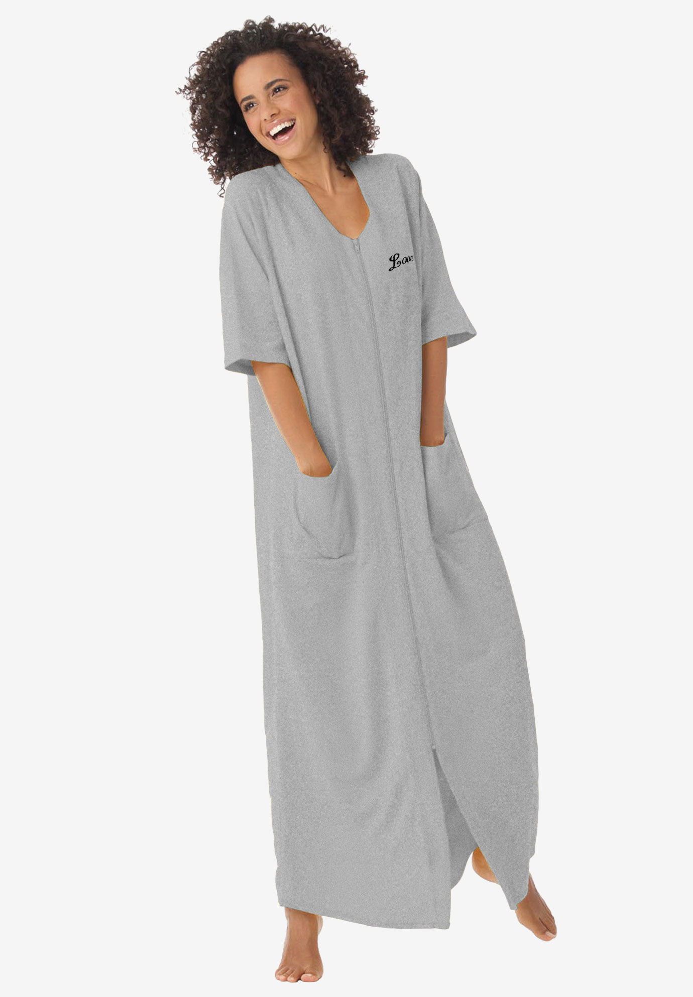 Personalized Petite Long Robe by Dreams & Co®, HEATHER GREY, hi-res