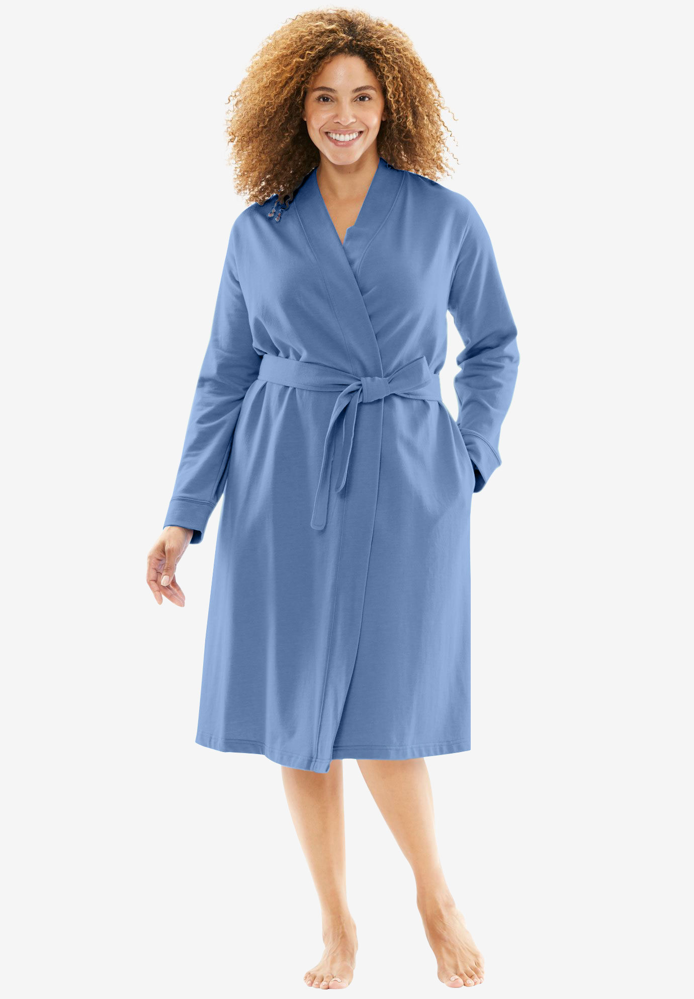Short Wrap Robe by Dreams & Co., FRENCH BLUE, hi-res