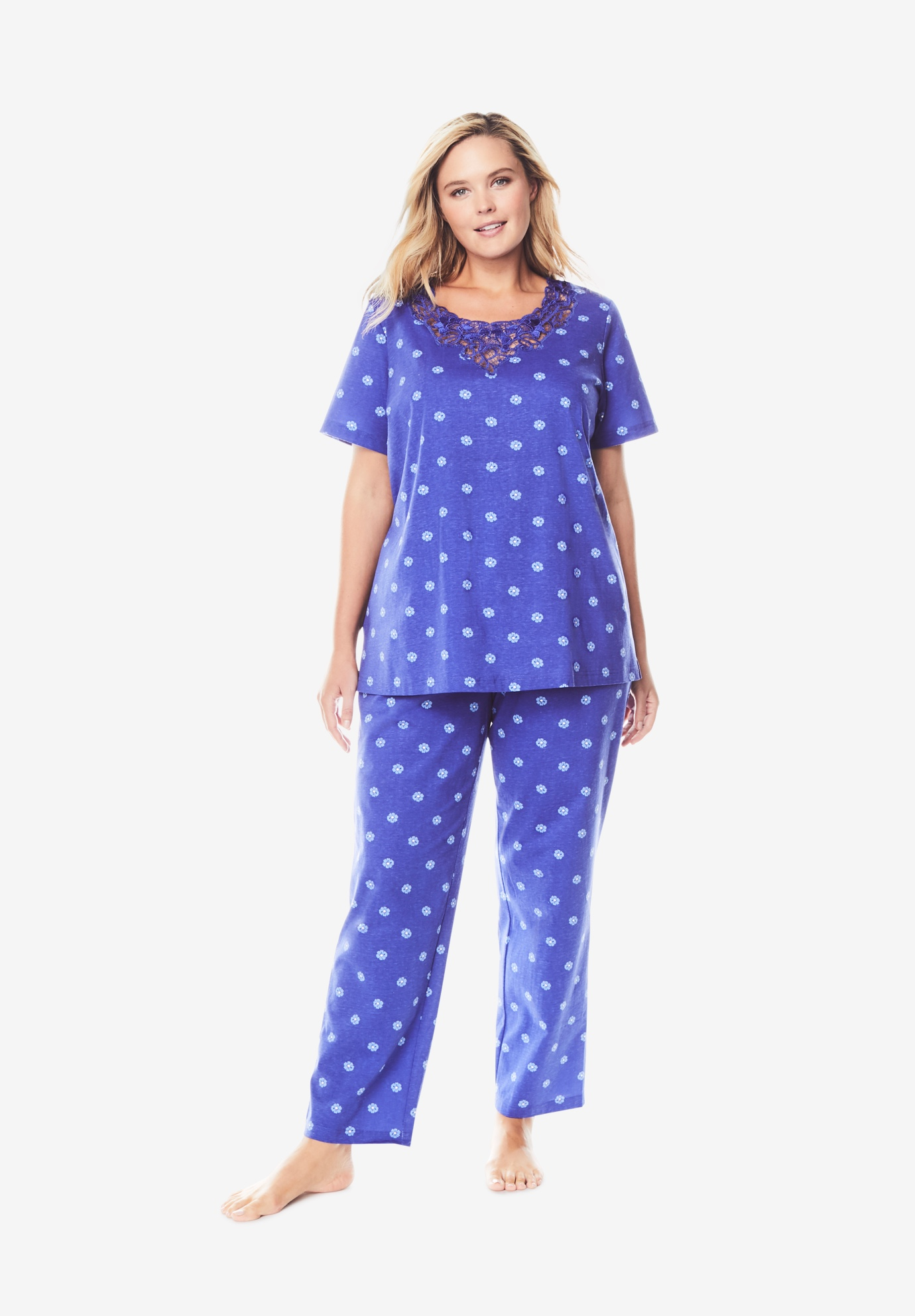 Lace-Trim Tee Pajama Set by Dreams & Co.®,