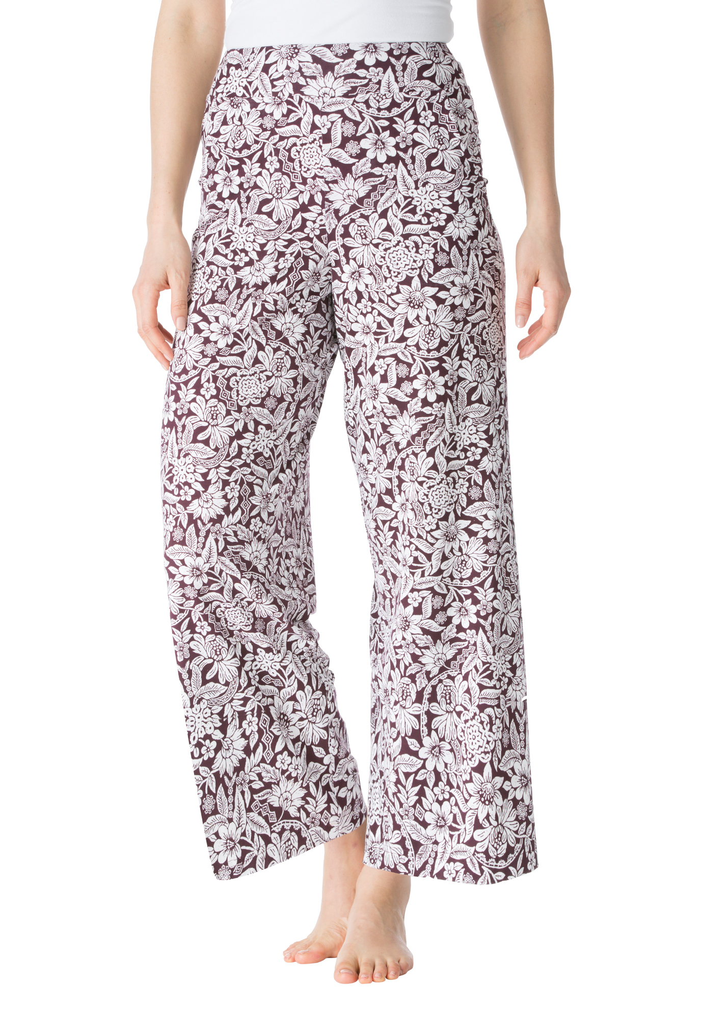 Wide Leg Print Pants, MIDNIGHT BERRY FLORAL, hi-res