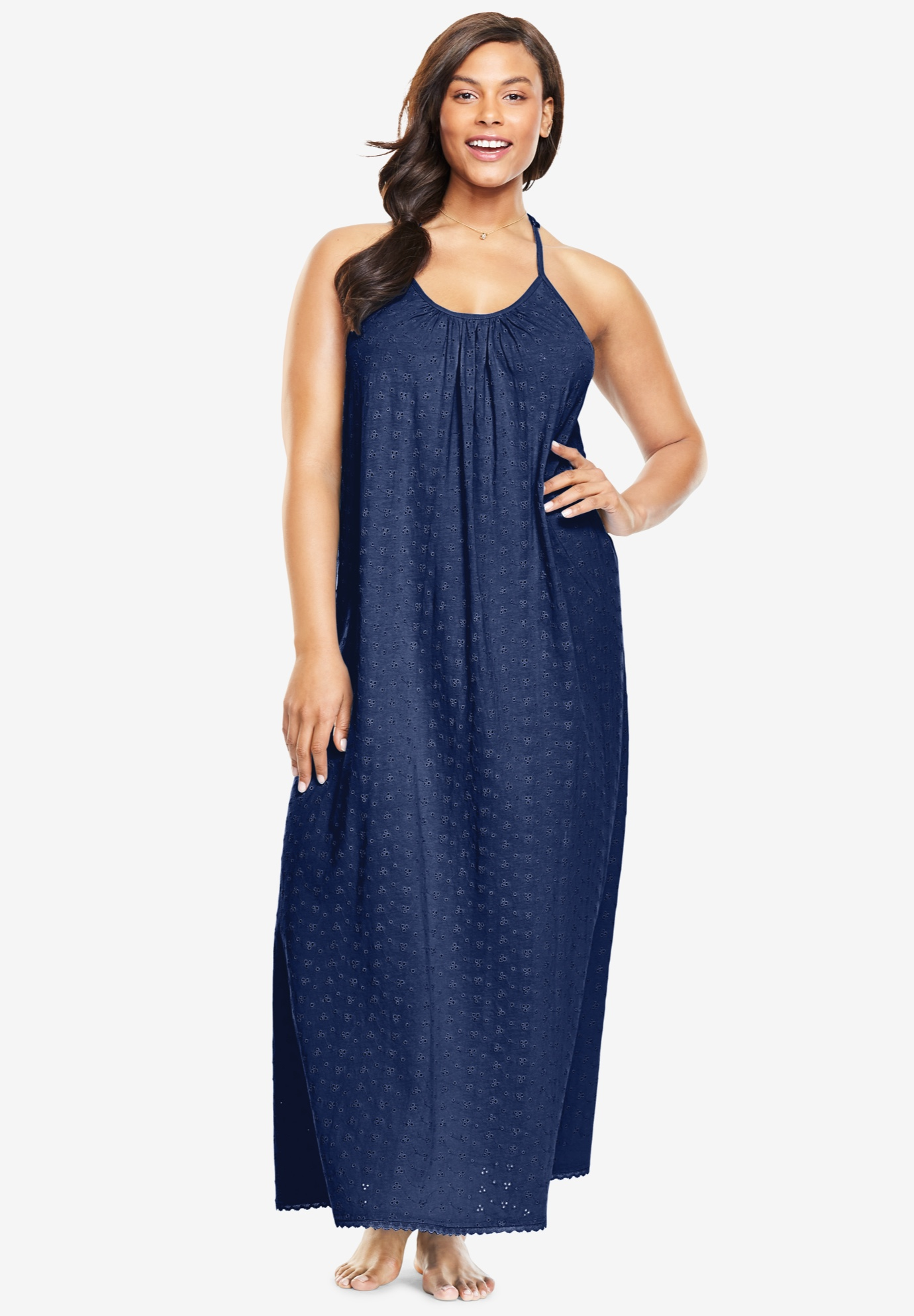 Breezy Eyelet Knit Long Nightgown ,