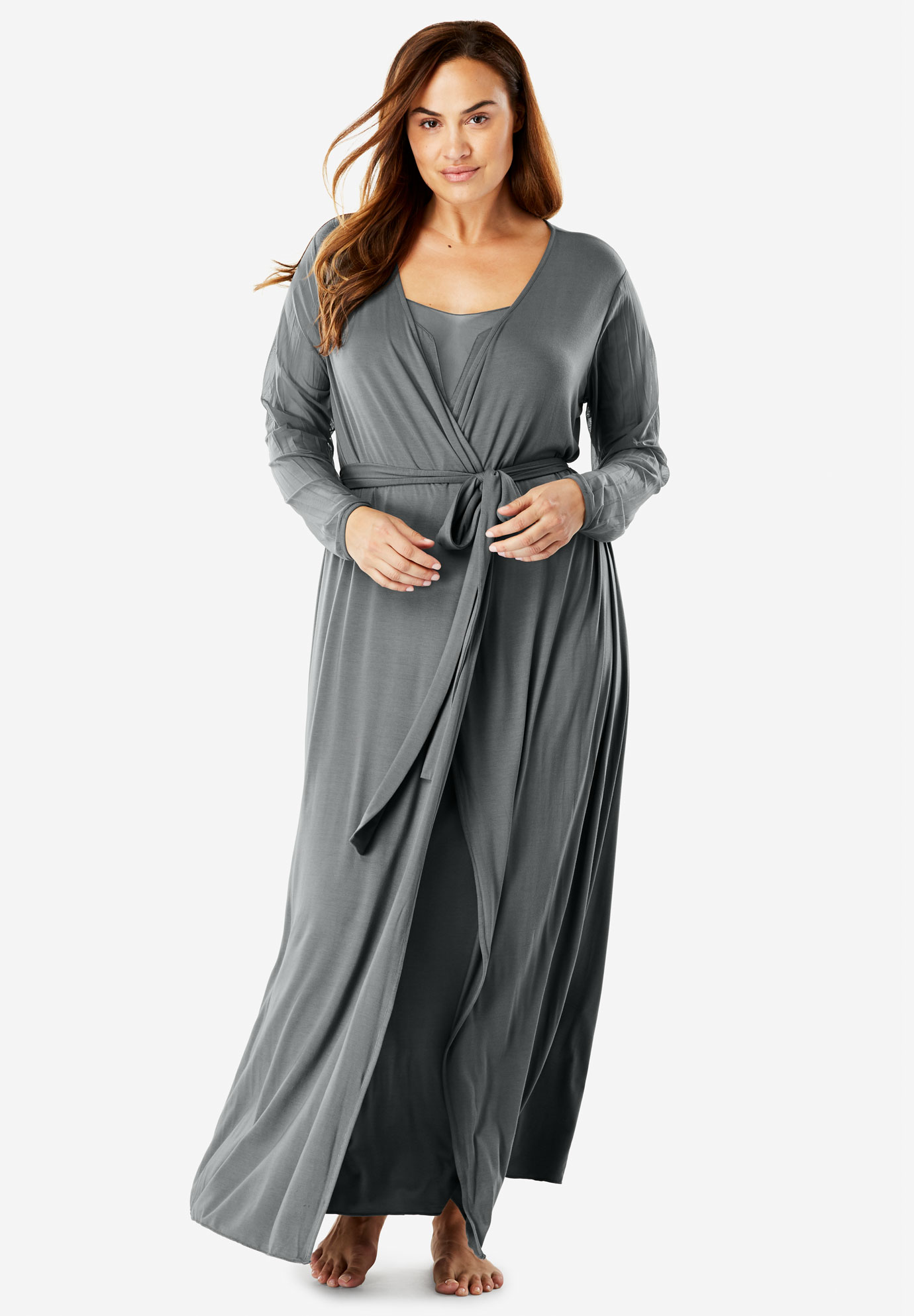 Mesh Nightie and Robe Set by Amoreuse®,