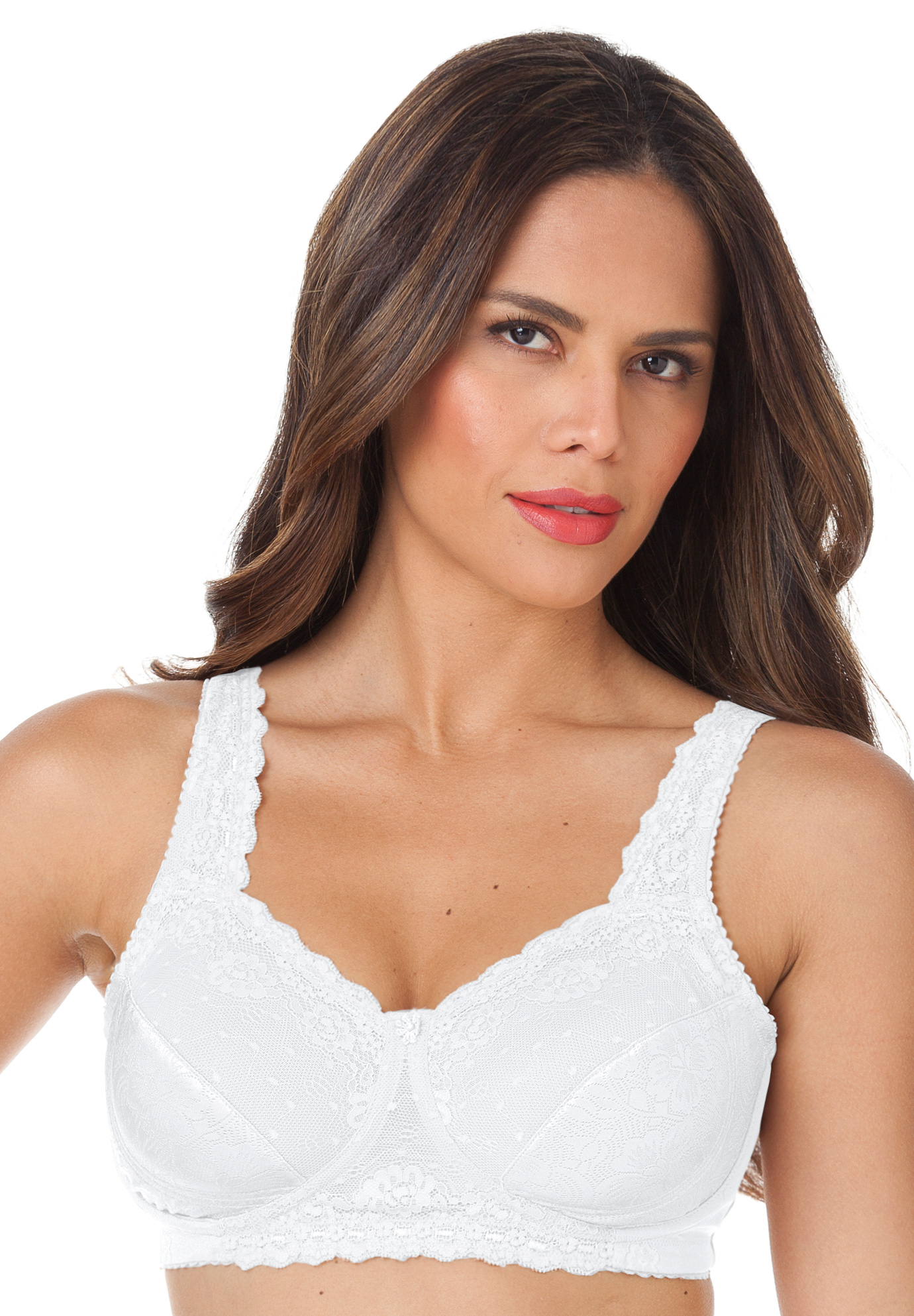 Sidewire Lace Bra by Comfort Choice®, WHITE, hi-res