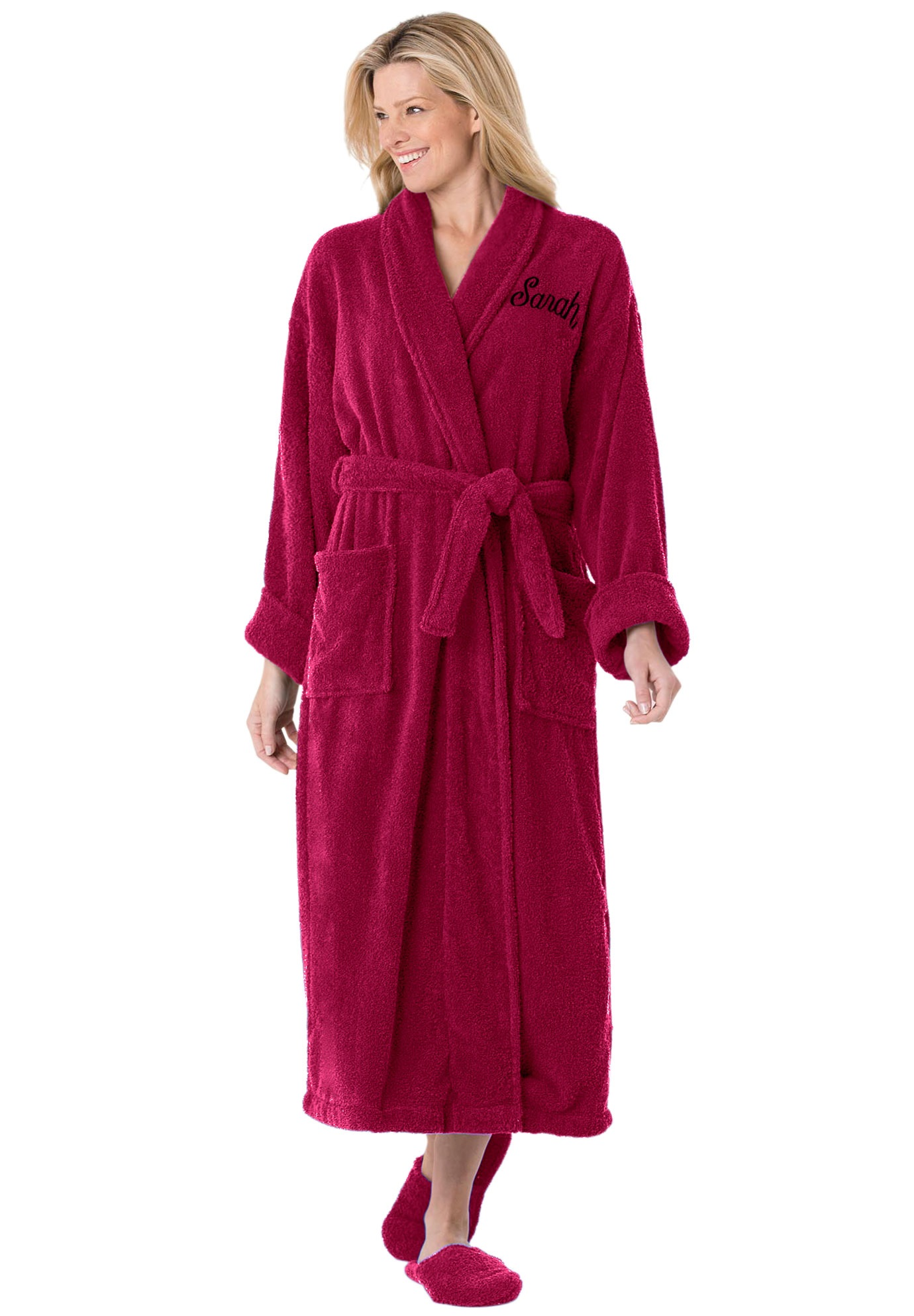 Personalized Long Terry Robe with FREE Slippers by Dreams & Co.®, CHERRY RED, hi-res