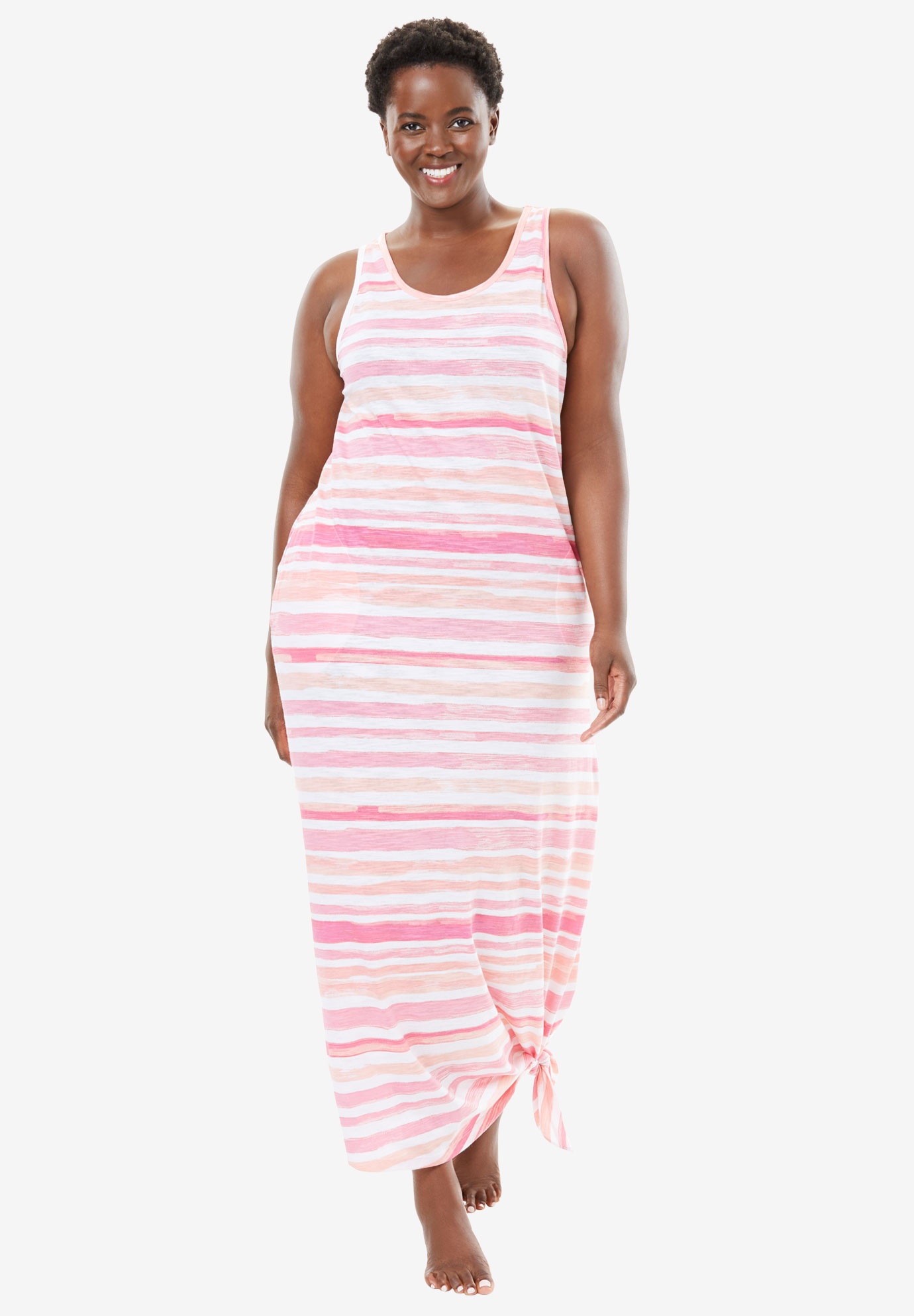 Long Sleeveless Lounger by Dreams & Co.®, MULTI PINK STRIPE, hi-res