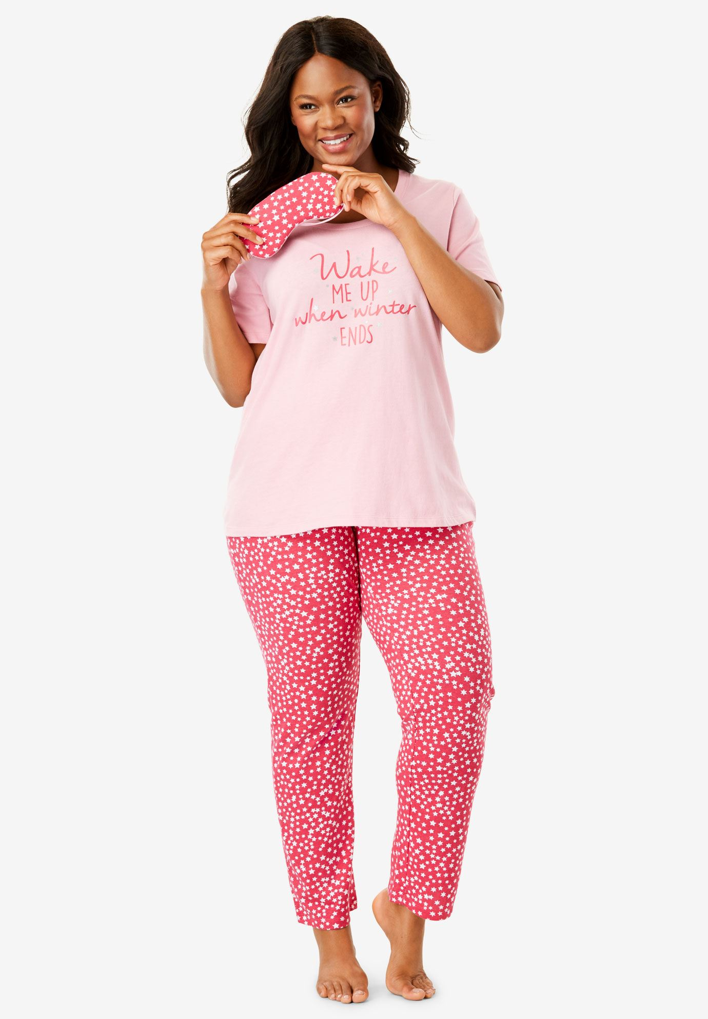 PJ Set With Free Eye Mask by Dreams & Co.®, , hi-res