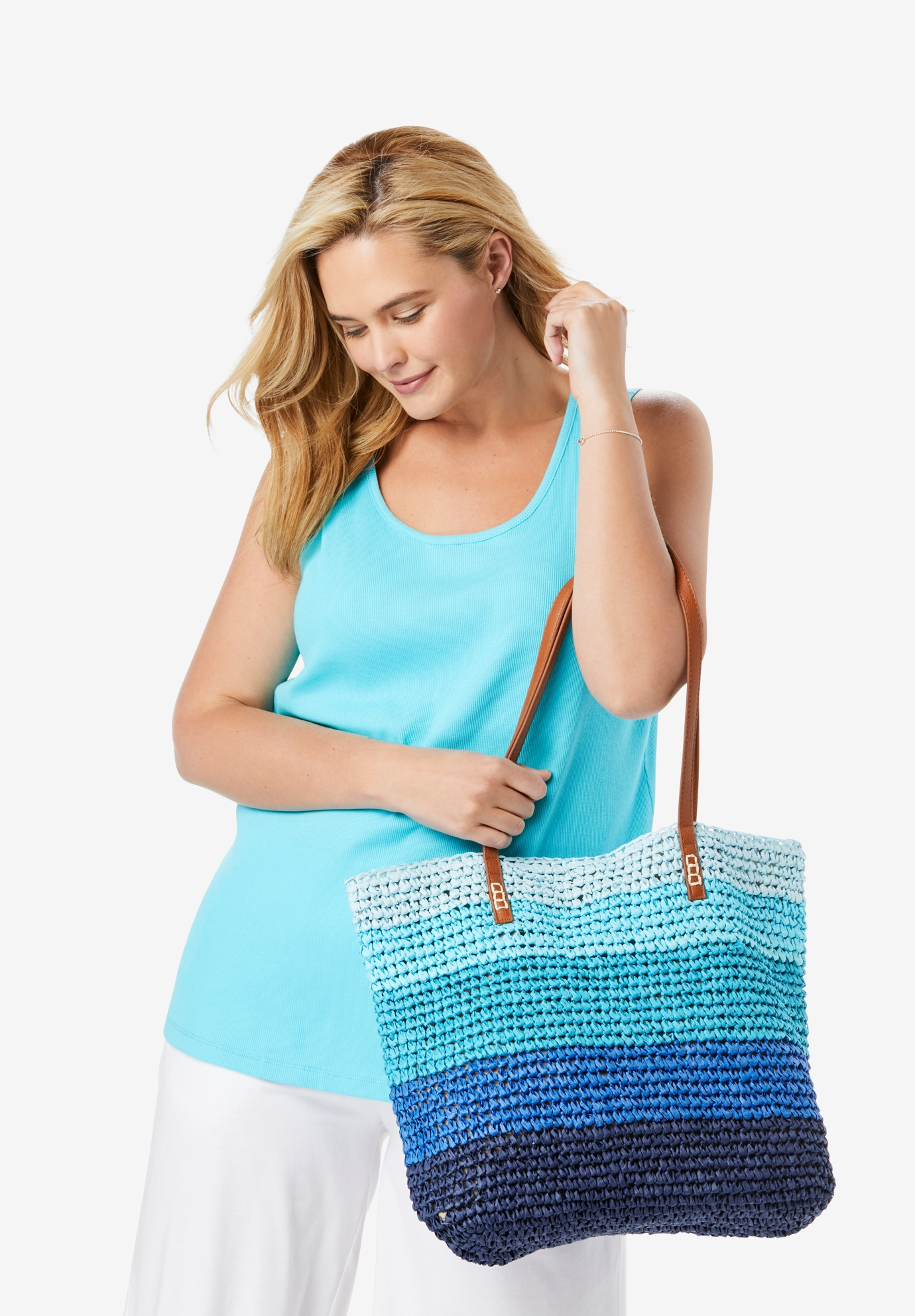 Color Block Straw Tote, DEEP COBALT CABANA STRIPE