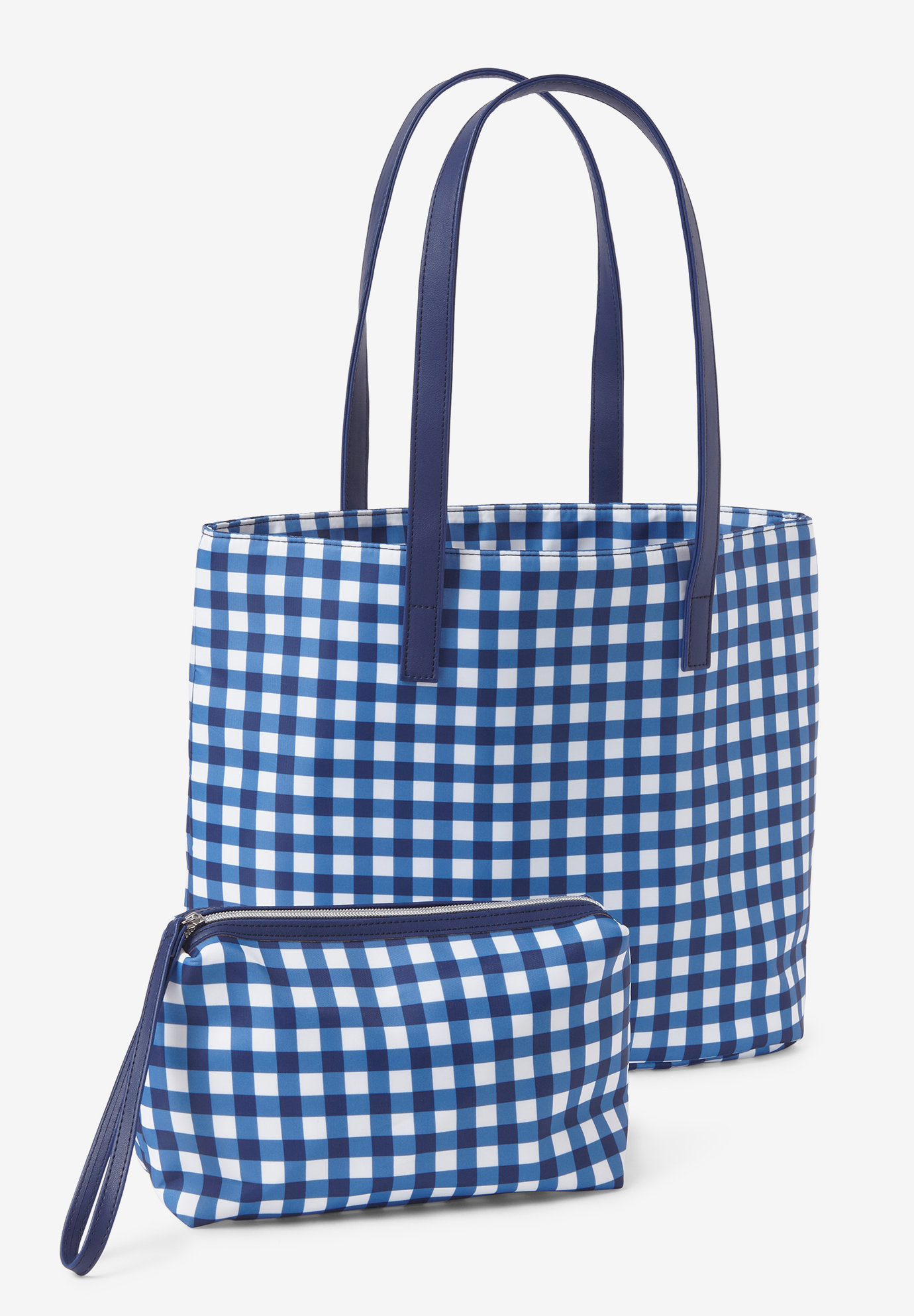 2-Piece Tote Set, EVENING BLUE GINGHAM
