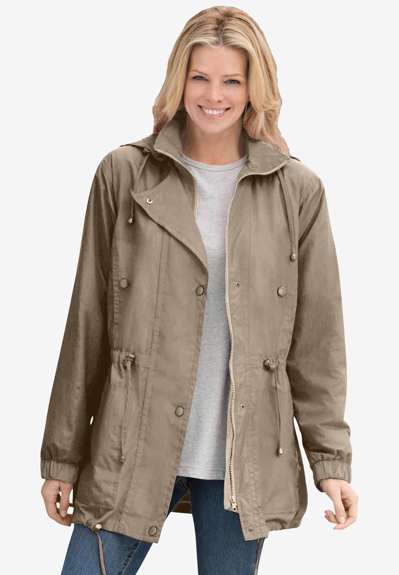 Jacket, anorak in weather-resistant Taslon® with zip-out lining, BARK, hi-res