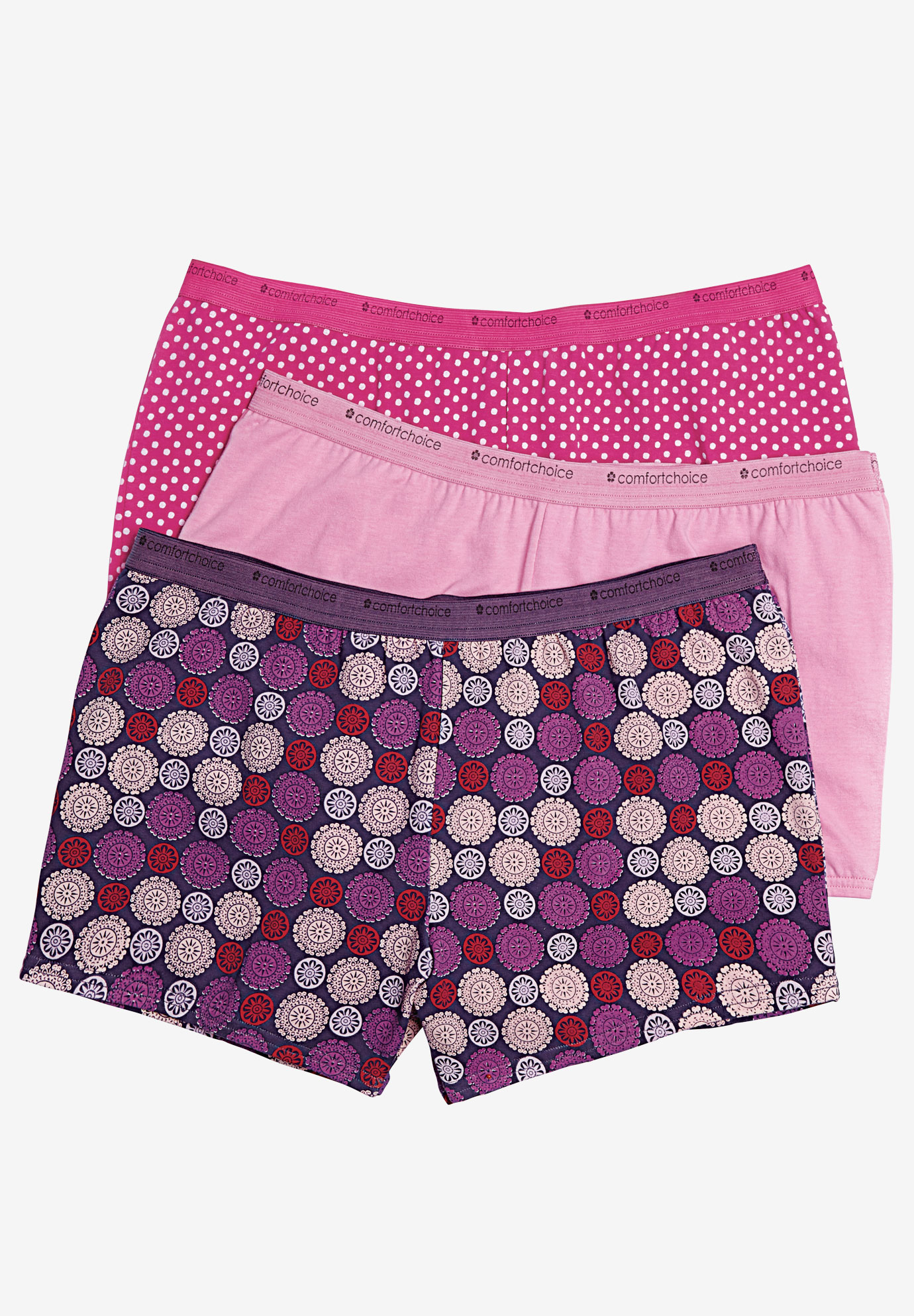 3-Pack Boyshort by Comfort Choice®, BERRY MEDALLION PACK, hi-res