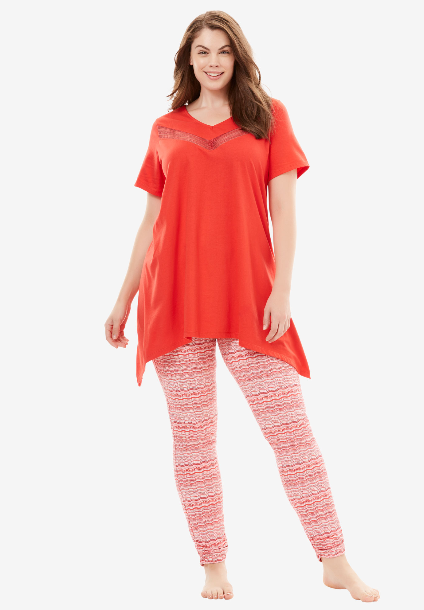 Lace Tunic & Legging PJ Set by Dreams & Co.®, CORAL RED STRIPE, hi-res