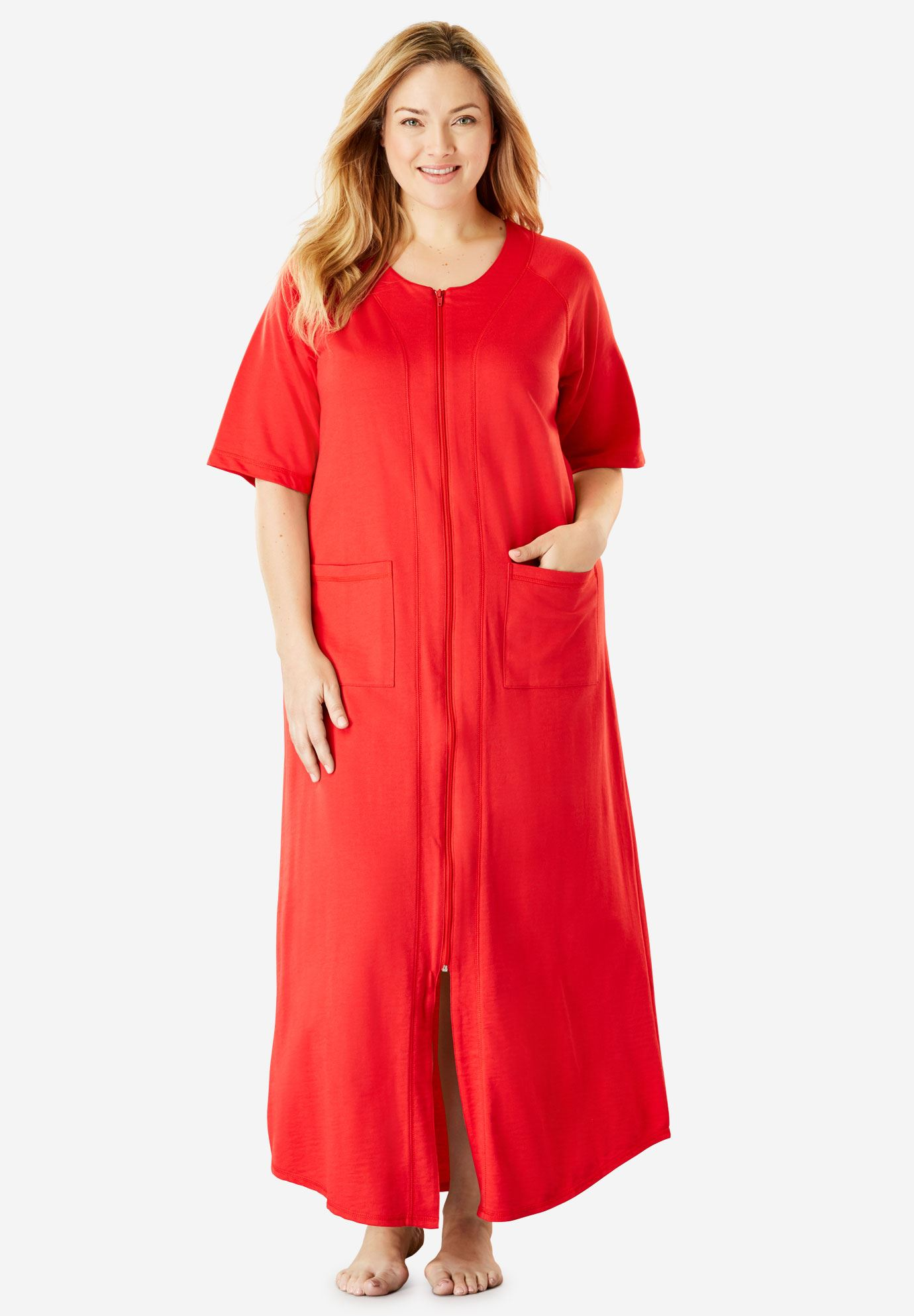 Long French Terry Robe by Dreams & Co.® | Plus Size Robes | Roaman\'s