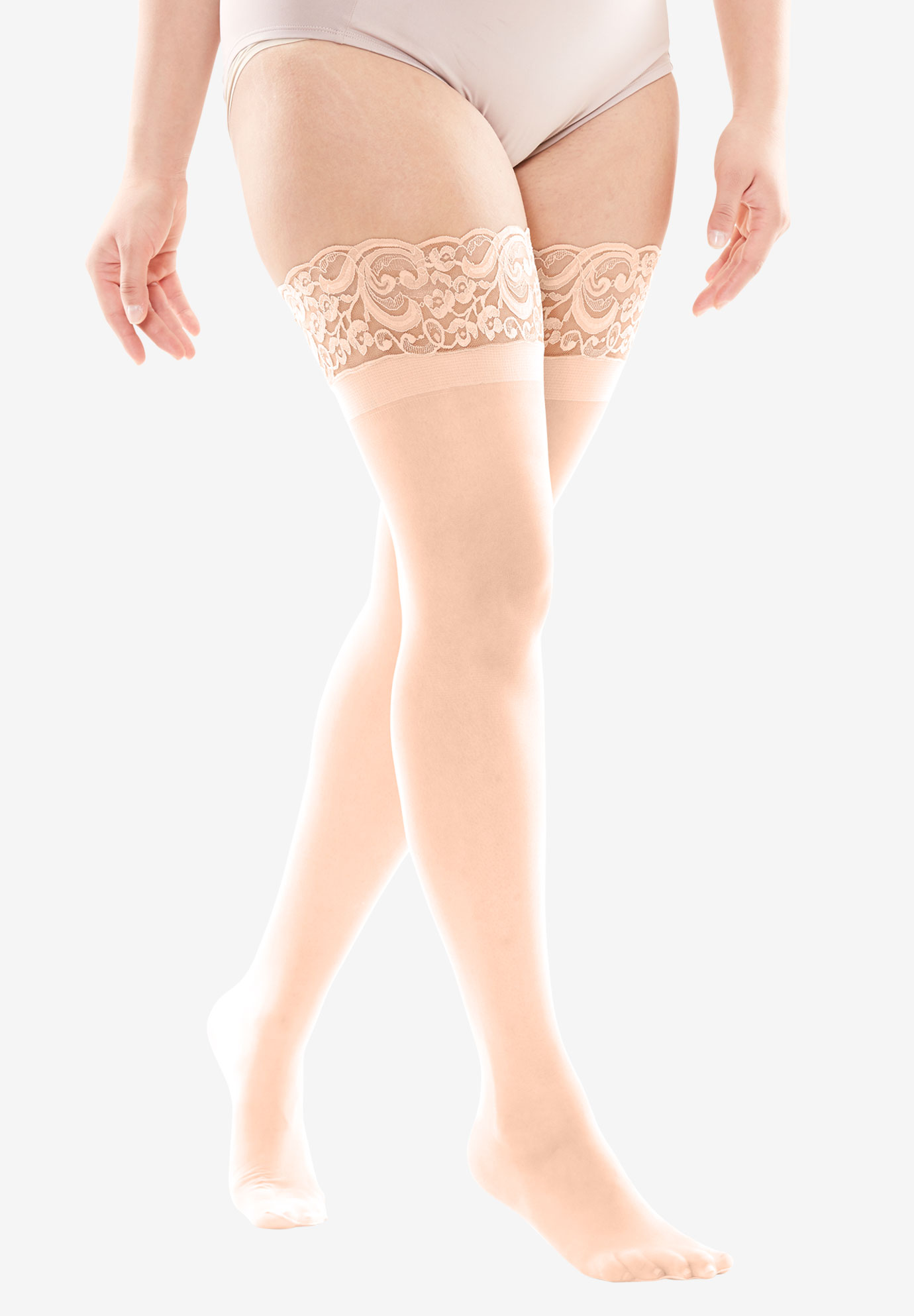 Lace Thigh-High Hosiery, NUDE, hi-res