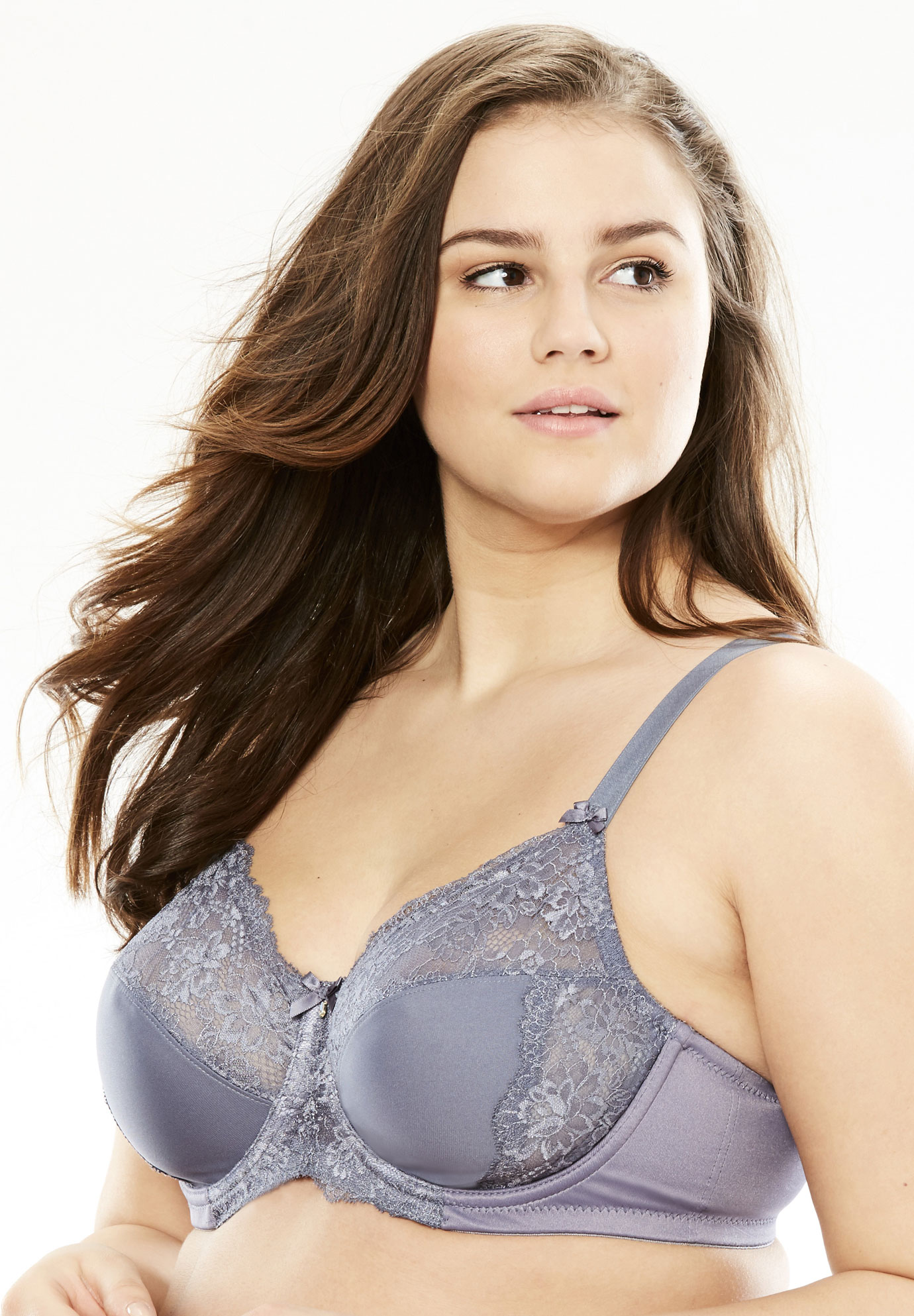 Wonderwire lace bra by Glamorise®, GREY, hi-res