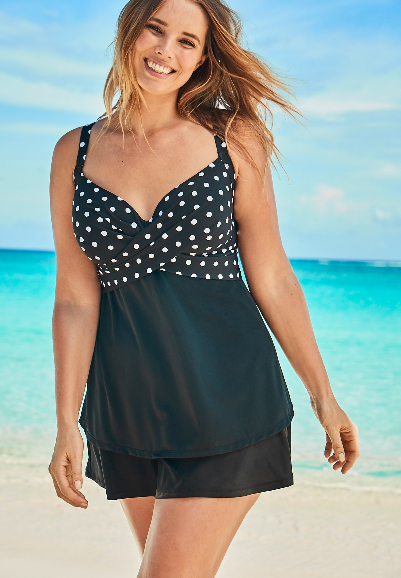 Bra-Sized Cross-Front Tankini Top,