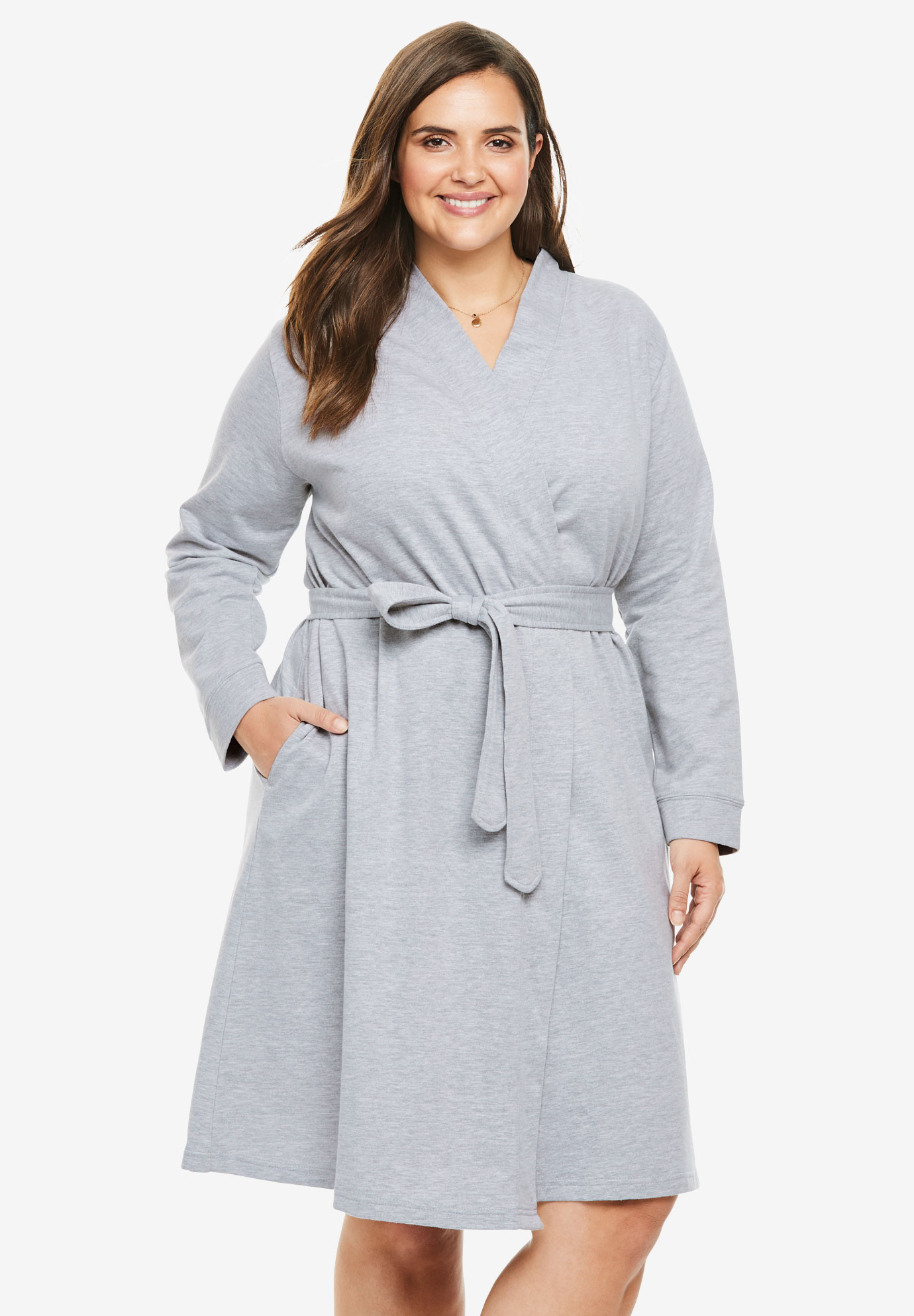 Short Wrap Robe by Dreams & Co., HEATHER GREY, hi-res