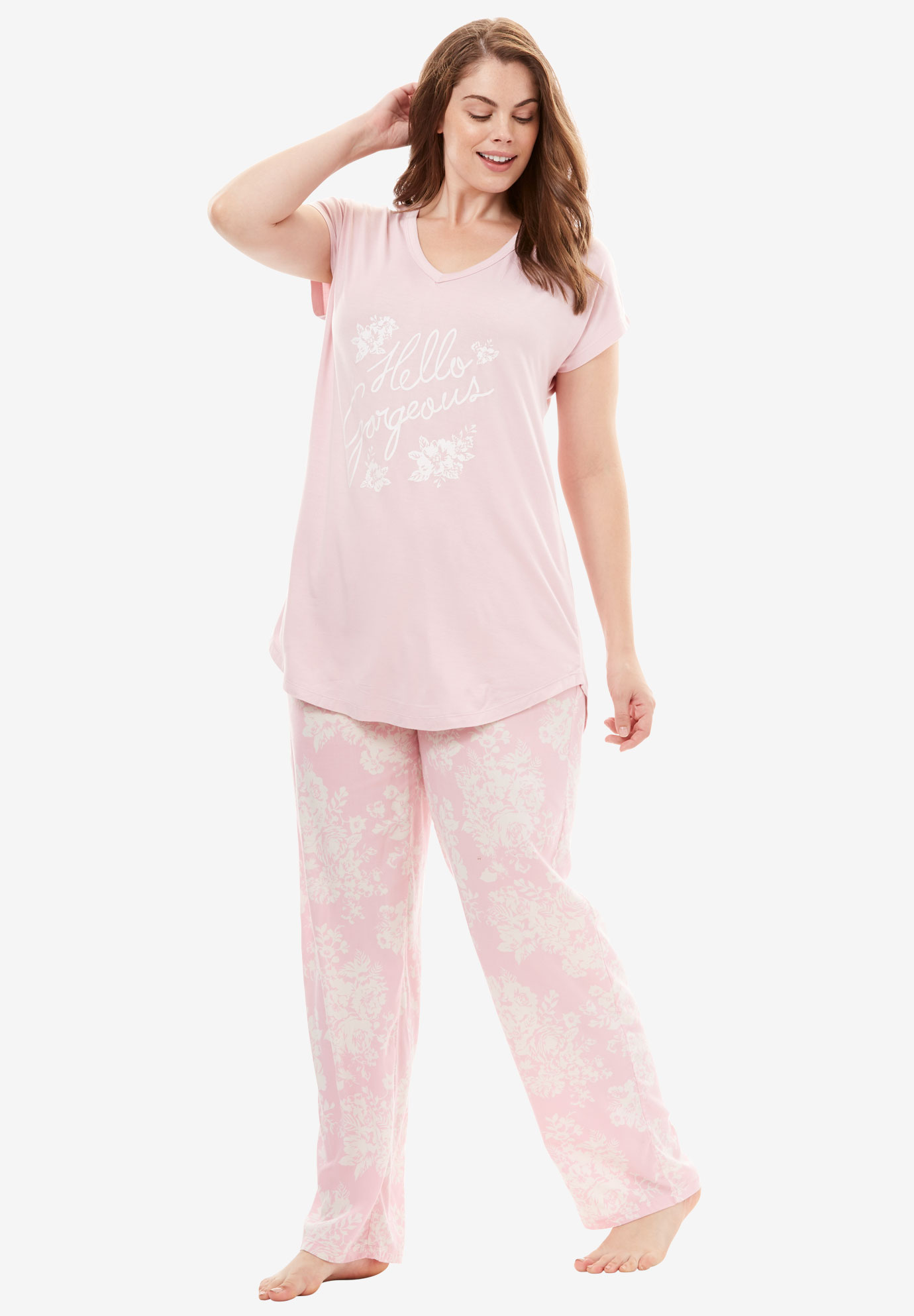 V-Neck Graphic Tee with Wide Leg Pants PJ Set by Dreams & Co.®, PINK HELLO GORGEOUS, hi-res