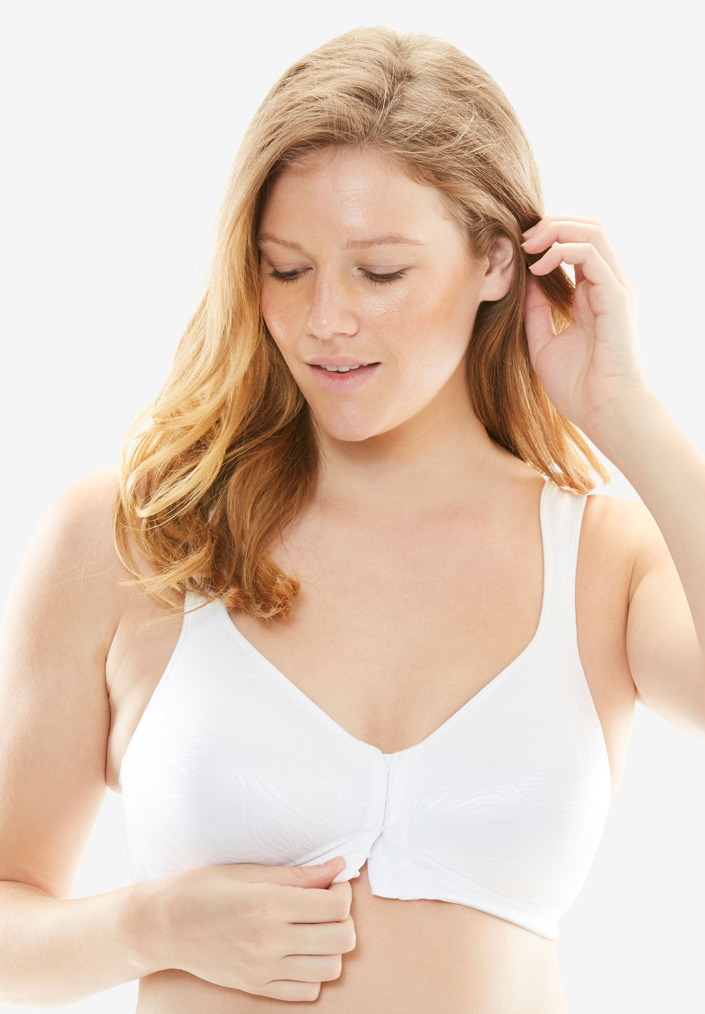 Superior lift front hook bra by Playtex®, WHITE, hi-res
