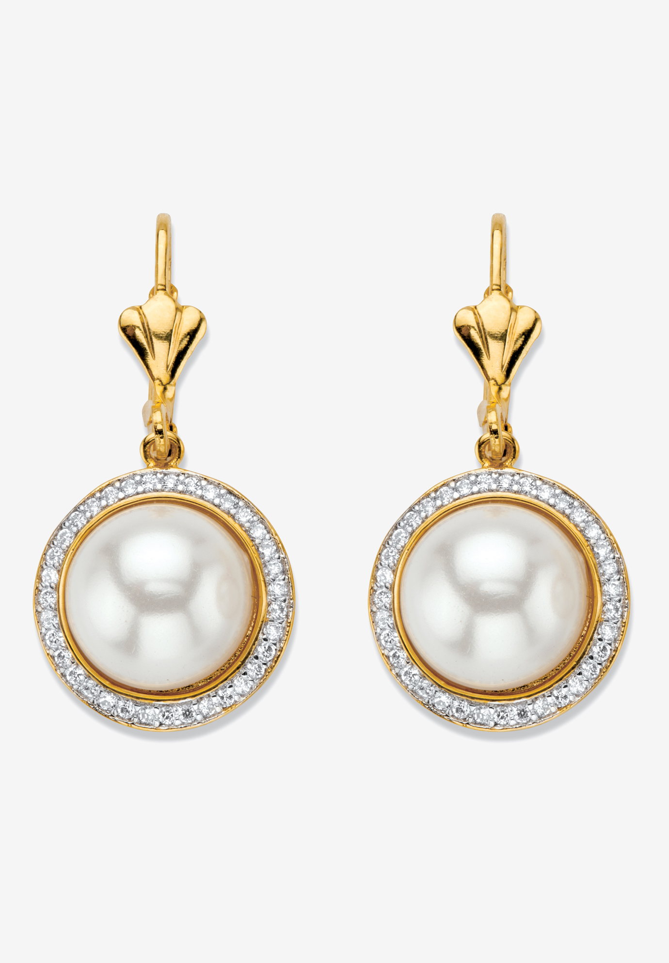 Gold-Plated Simulated Pearl and Cubic Zirconia Halo Drop Earrings, GOLD