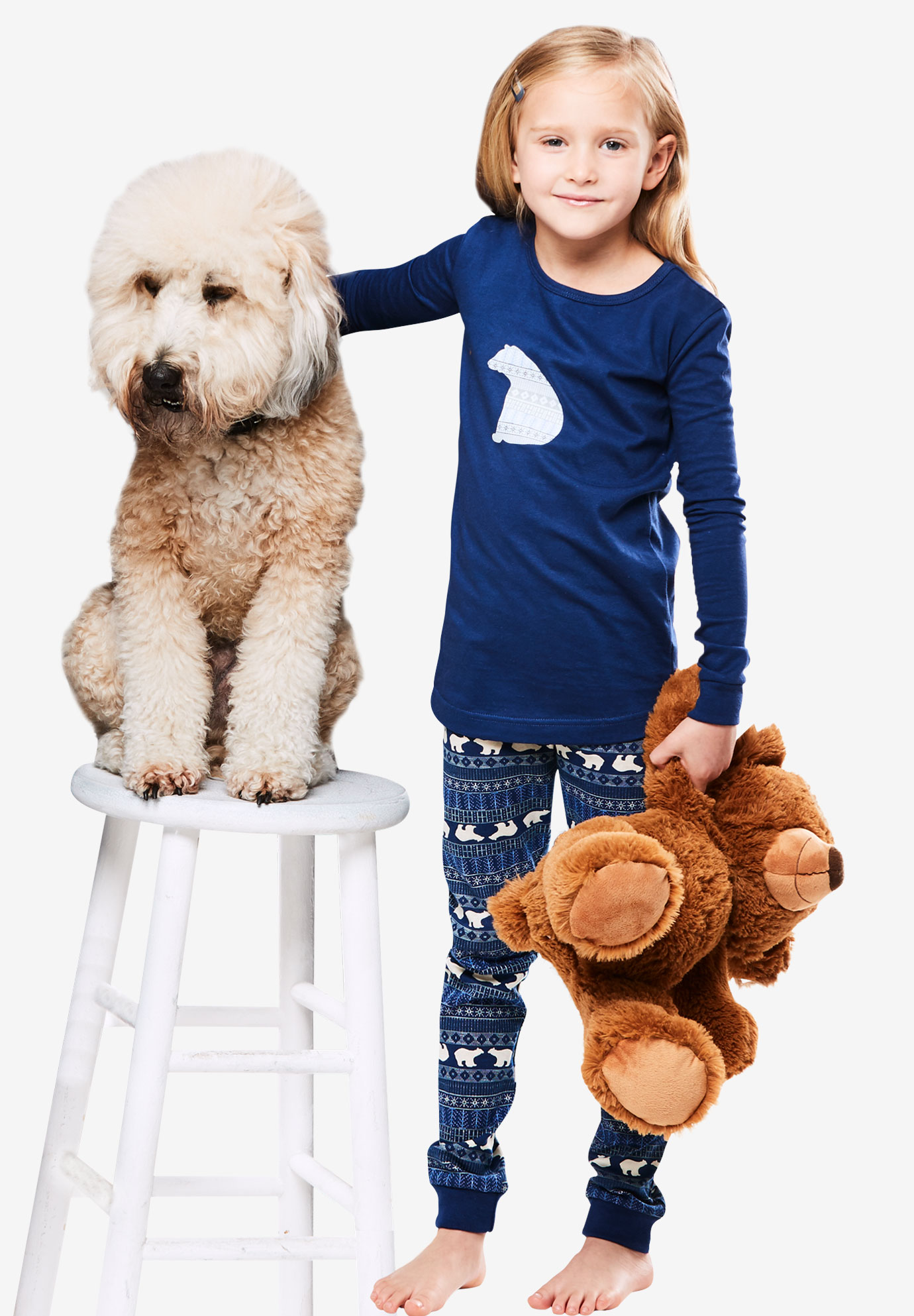 2-Piece Child's Unisex Holiday PJ Set by Dreams & Co.®, NAVY BLUE POLAR BEAR, hi-res