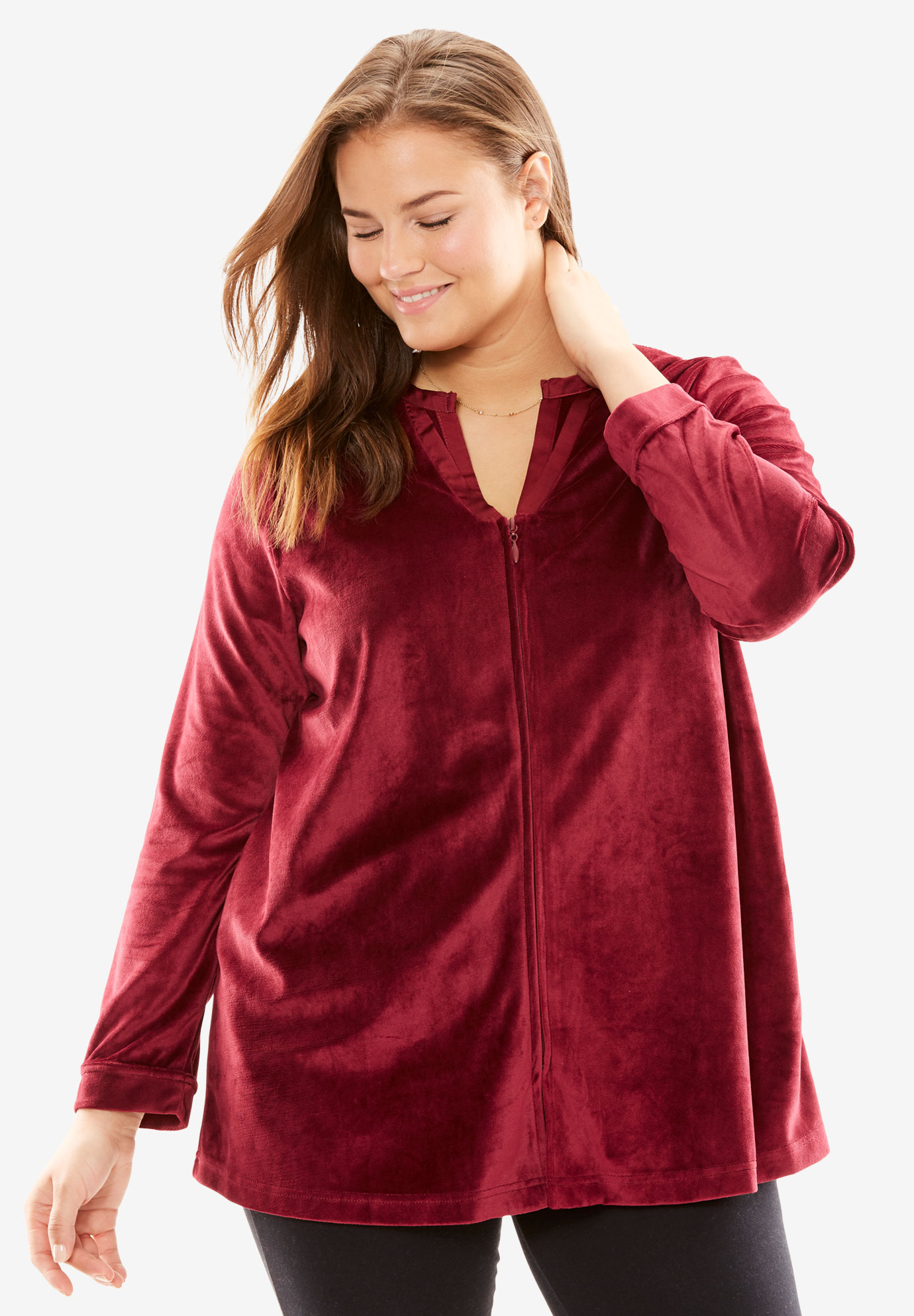 Velour Bed Jacket by Only Necessities®, RICH BURGUNDY, hi-res