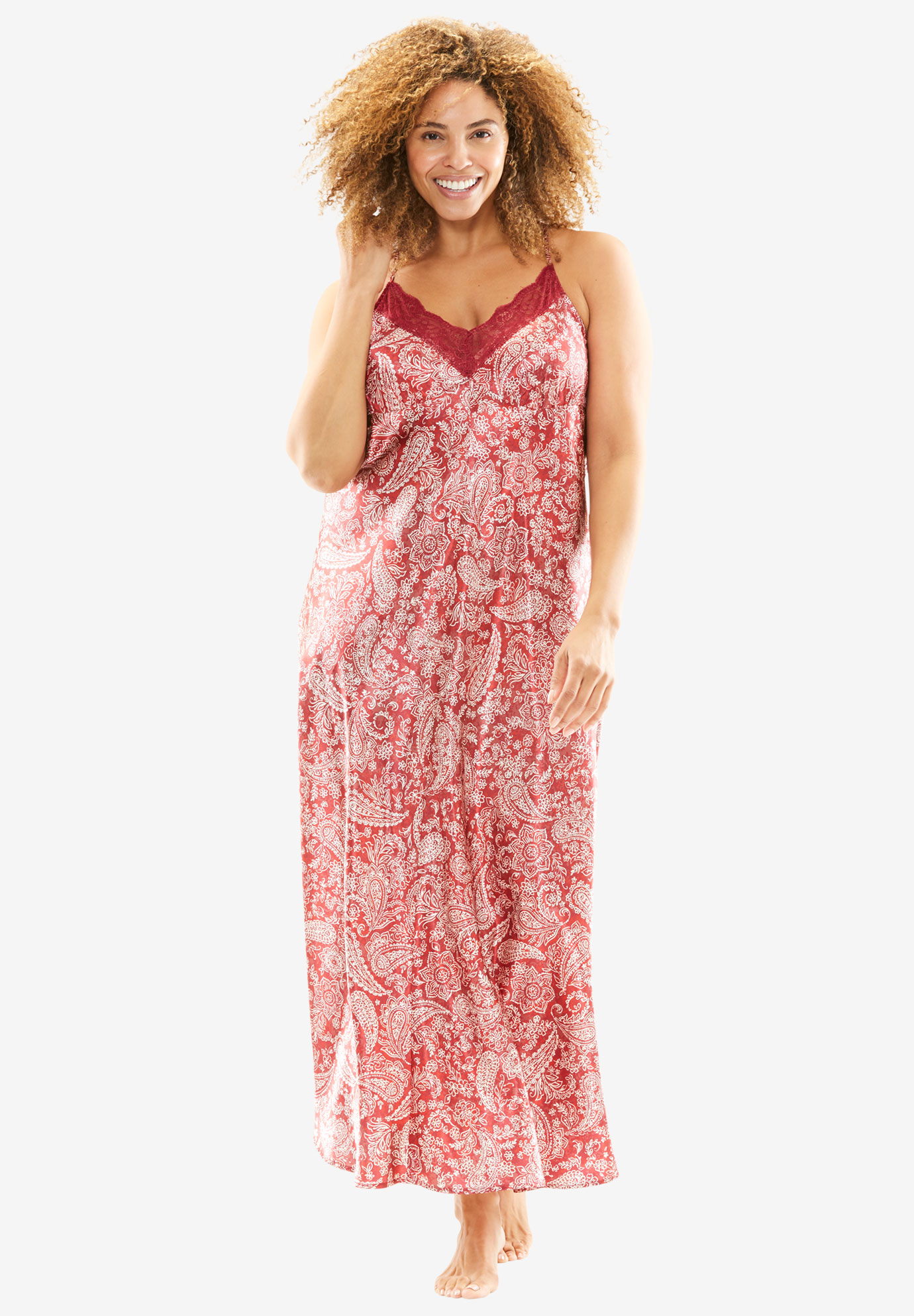 Print Lace-Trim Satin Nightgown by Amoureuse® | Plus Size Clearance ...