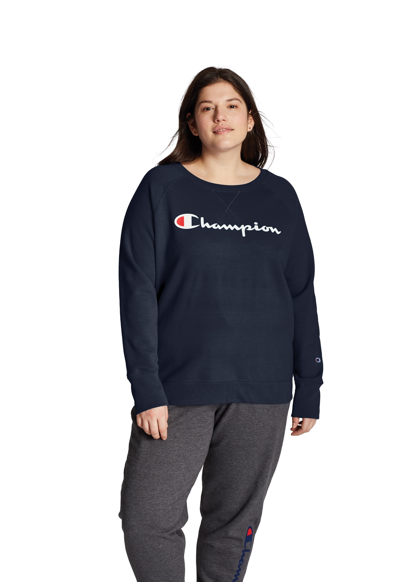 Champion Women's Plus Powerblend® Fleece Boyfriend Crew, Script Logo,