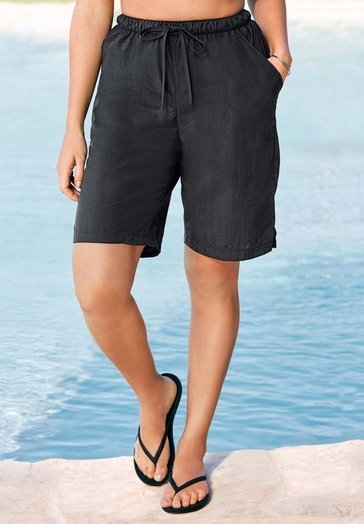 Taslon® Coverup Board Shorts with Built-In Brief ,