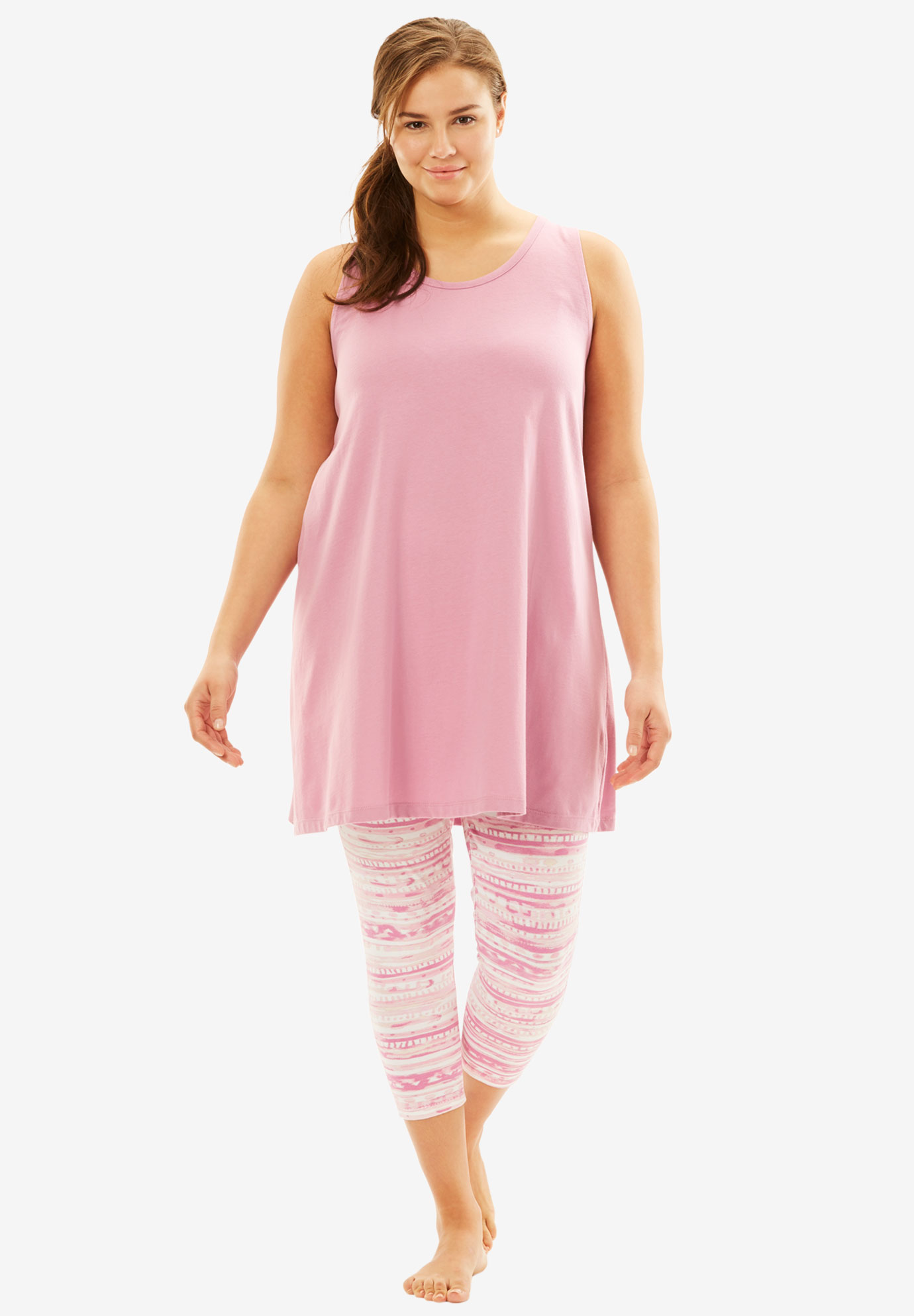 Scoopneck Tank & Capri Legging PJ Set by Dreams & Co.®, PINK, hi-res