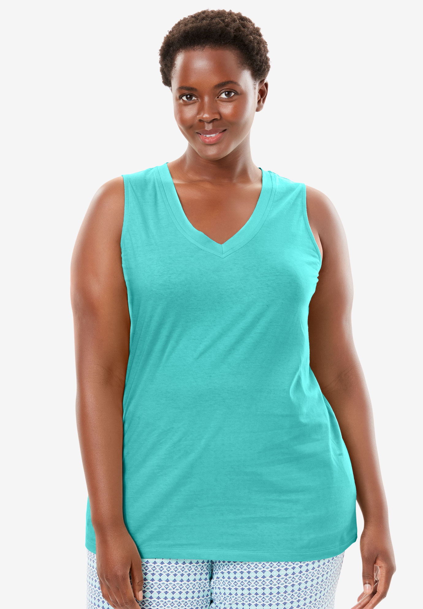 Cotton Sleep Tank by Dreams & Co.®, AZURE, hi-res