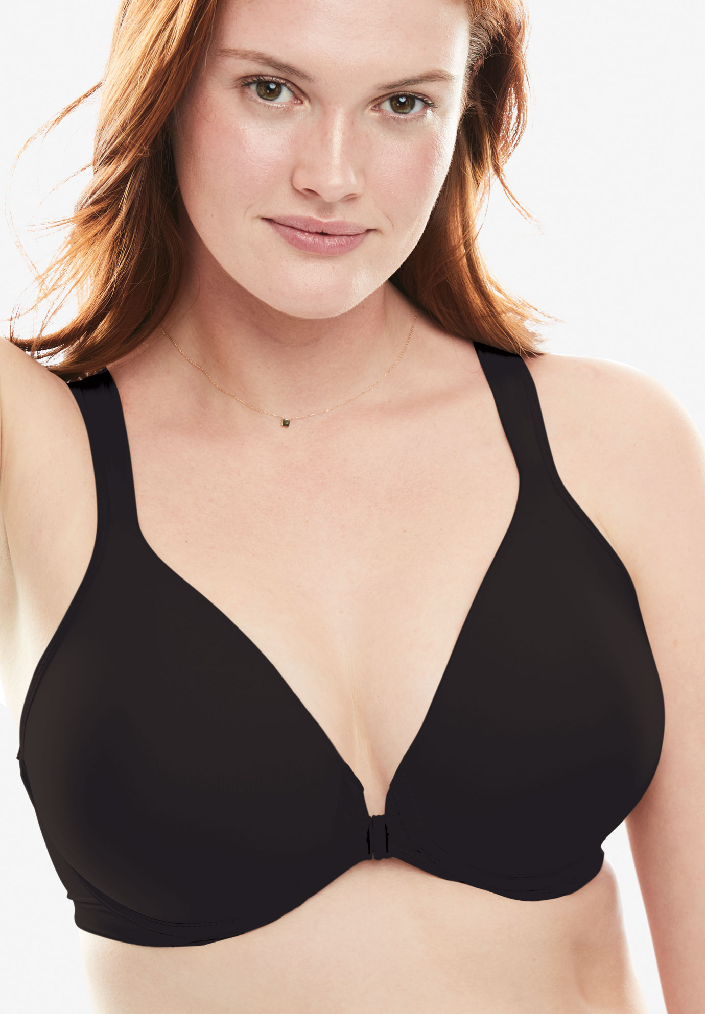 Front-Hook Seamless T-shirt Bra by Leading Lady®, BLACK, hi-res
