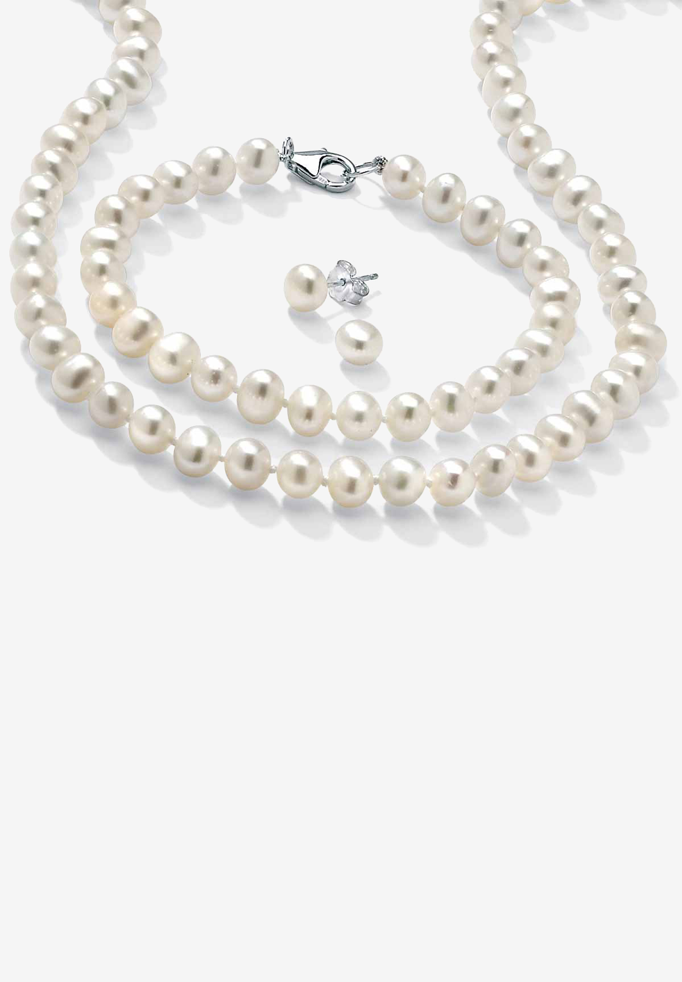 Silver Necklace, Bracelet and Earring Set Cultured Freshwater Pearl, SILVER
