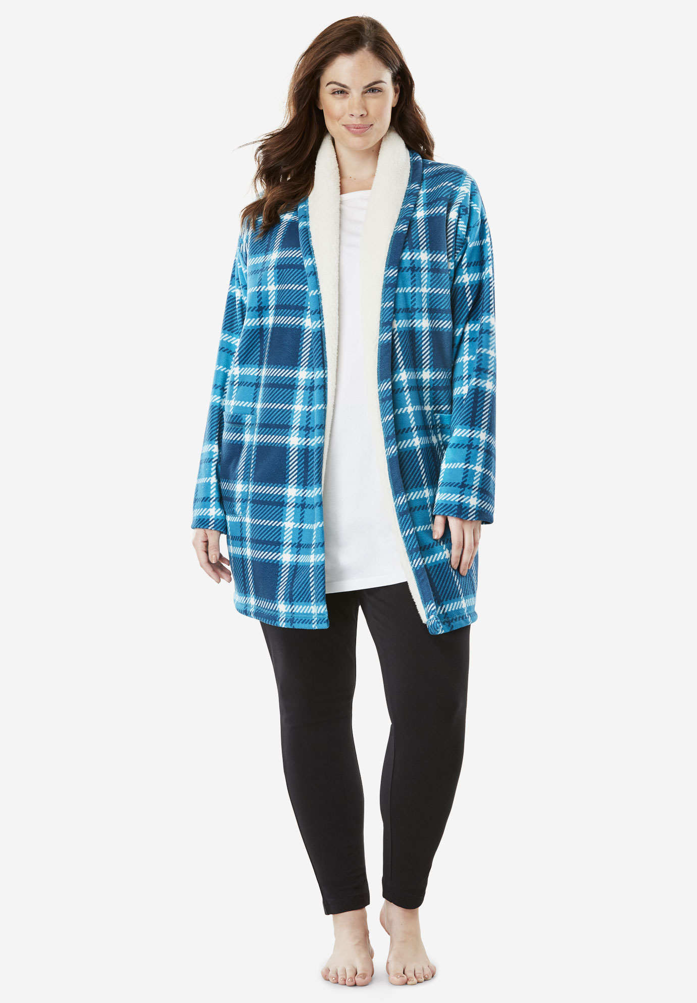 Sherpa-Lined Microfleece Bed Jacket by Dreams & Co.®,