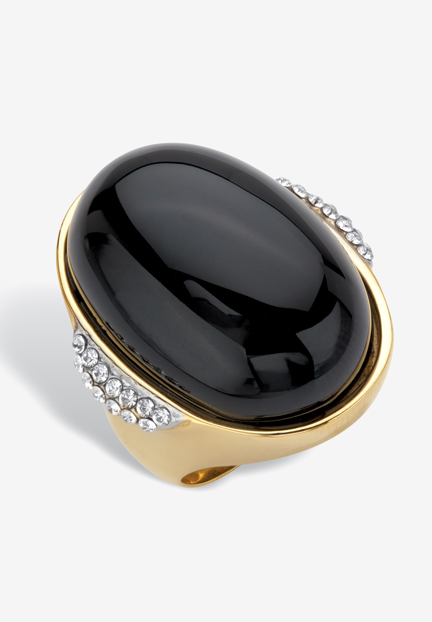 Yellow Gold Ion-Plated Stainless Steel Black Onyx and Crystal Ring,