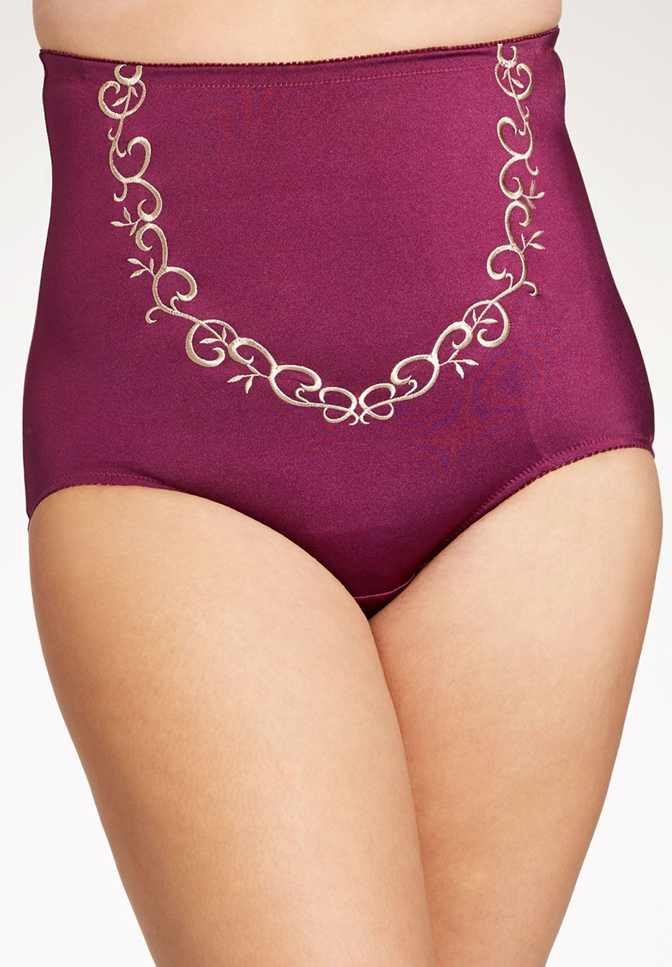 High Waist Lace Trim Brief by Amoureuse®, BOYSENBERRY SPARKLING CHAMPAGNE, hi-res