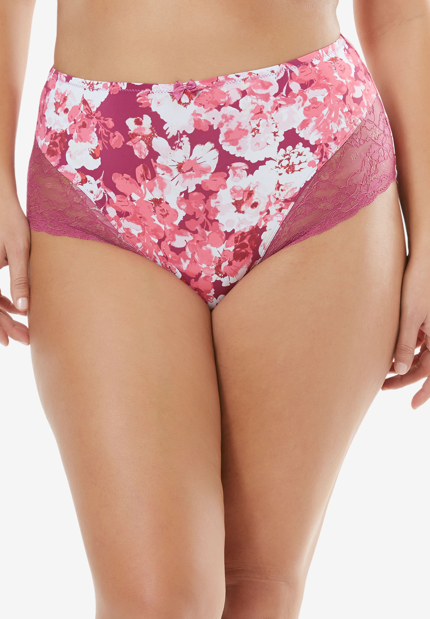 Lace Full-Cut Brief by Amoureuse®, RUBY BERRY FLORAL, hi-res
