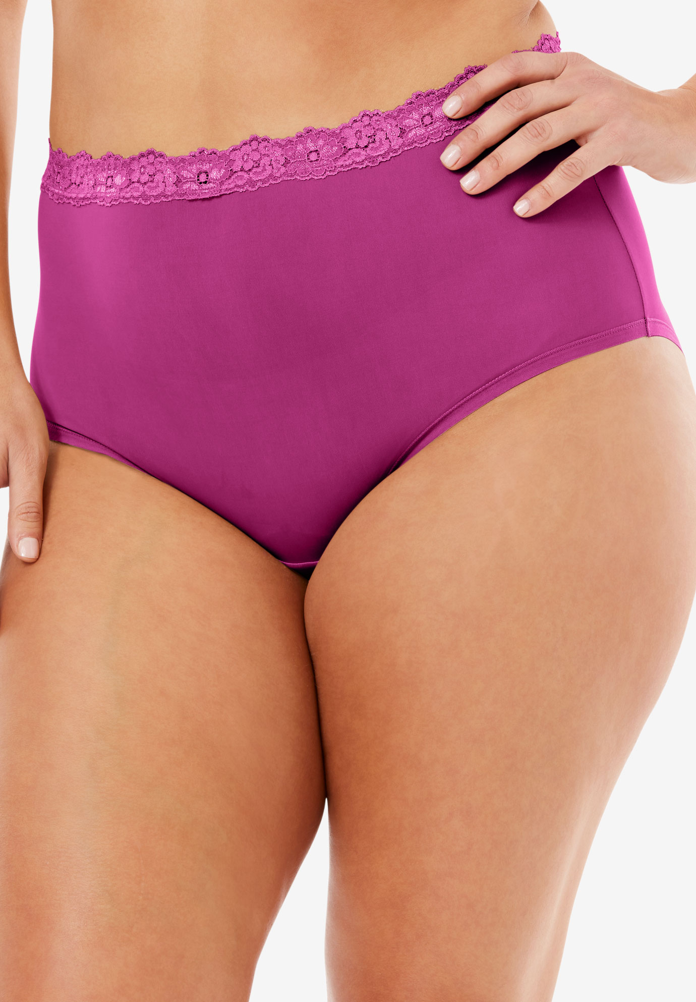 Lace-Trim Microfiber Full-Cut Brief by Comfort Choice®, BRIGHT BERRY, hi-res