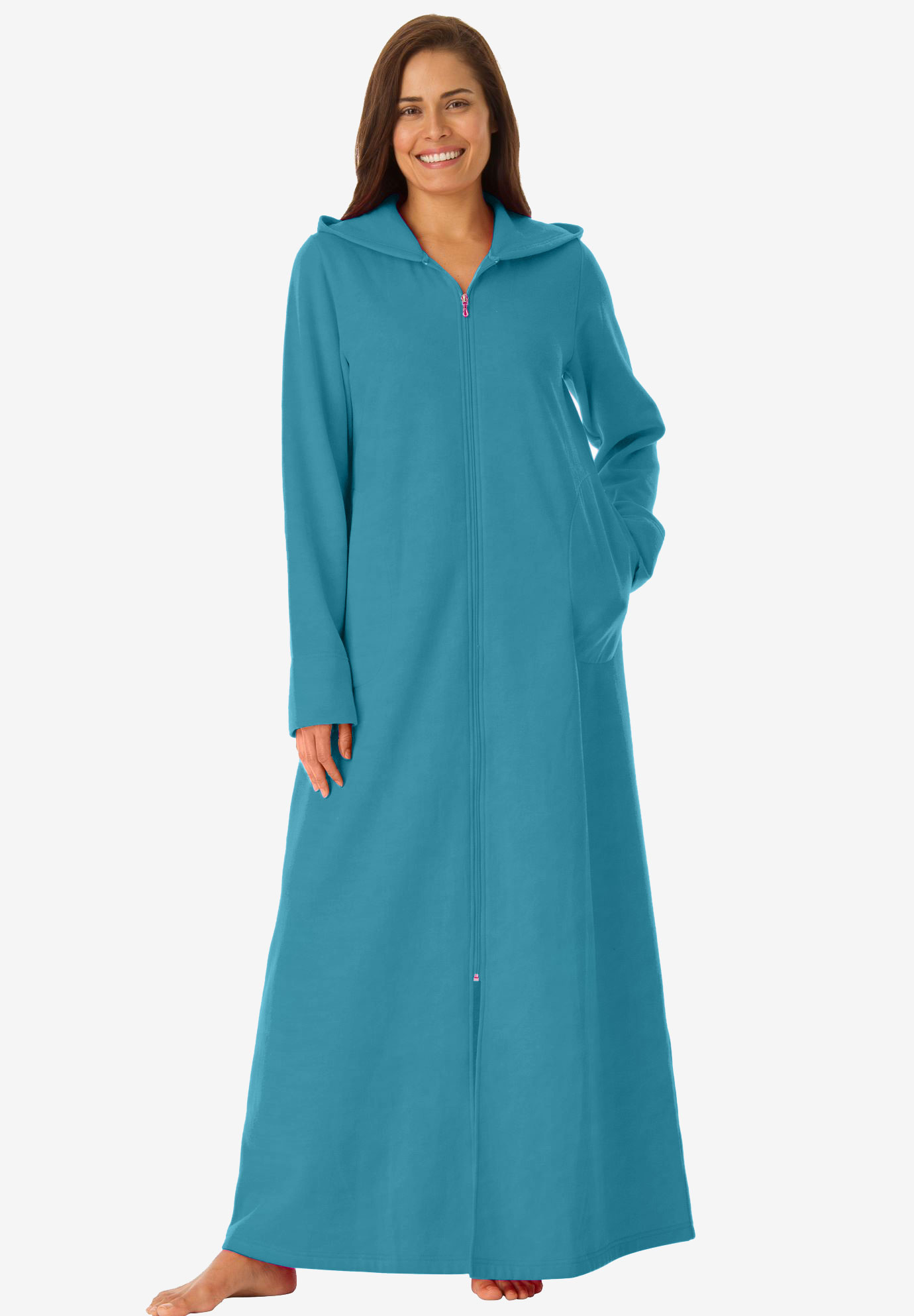 Long Fleece Hooded Robe by Dreams & Co.®, OASIS, hi-res
