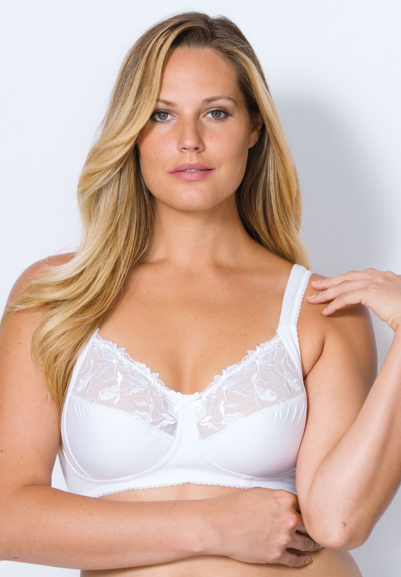 Dreamy Comfort Half-Cup Wireless Lace Bra by Leading Lady®,